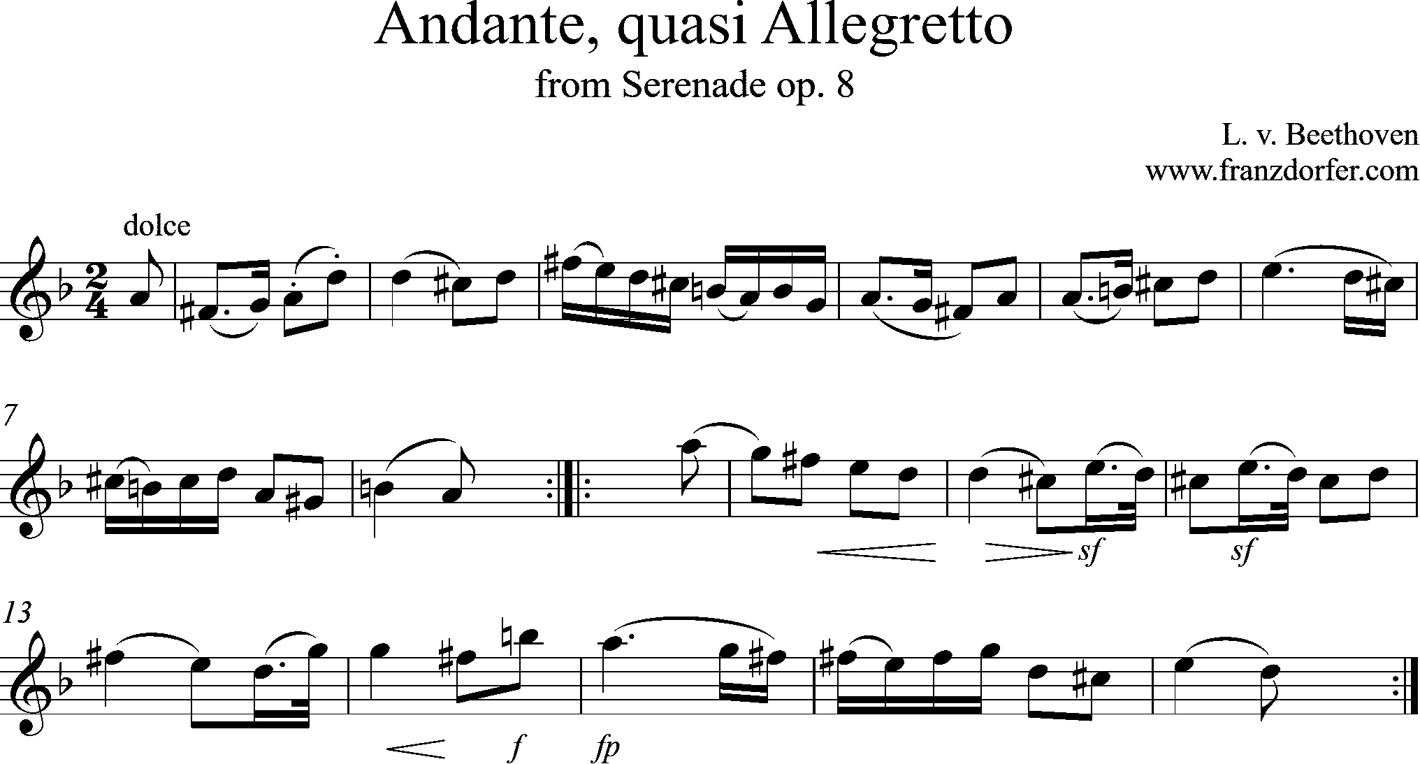 alarinet sheetmusic - Andante Beethoven-op.8