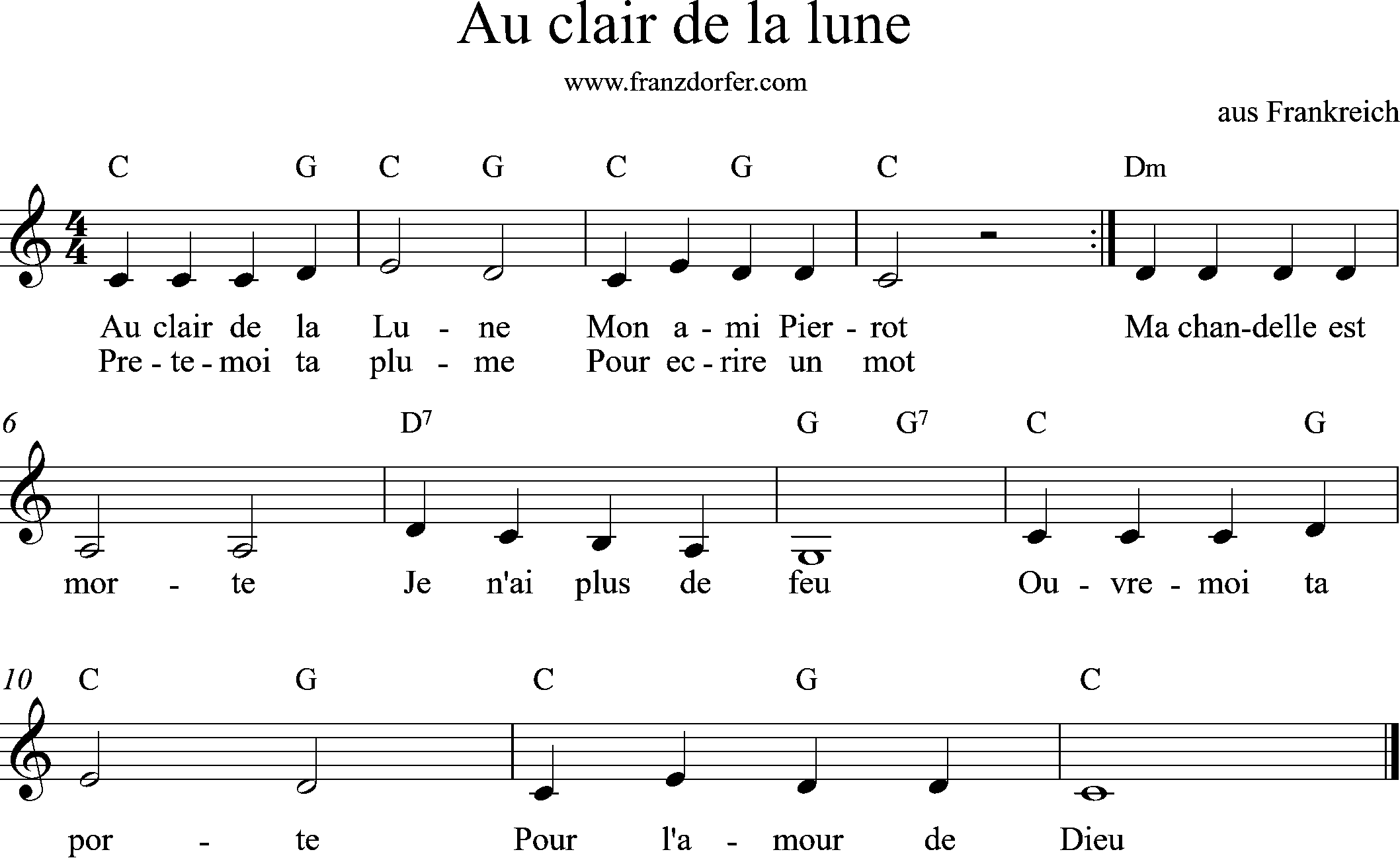 sheet music, C-Major, Au Clair de la lune