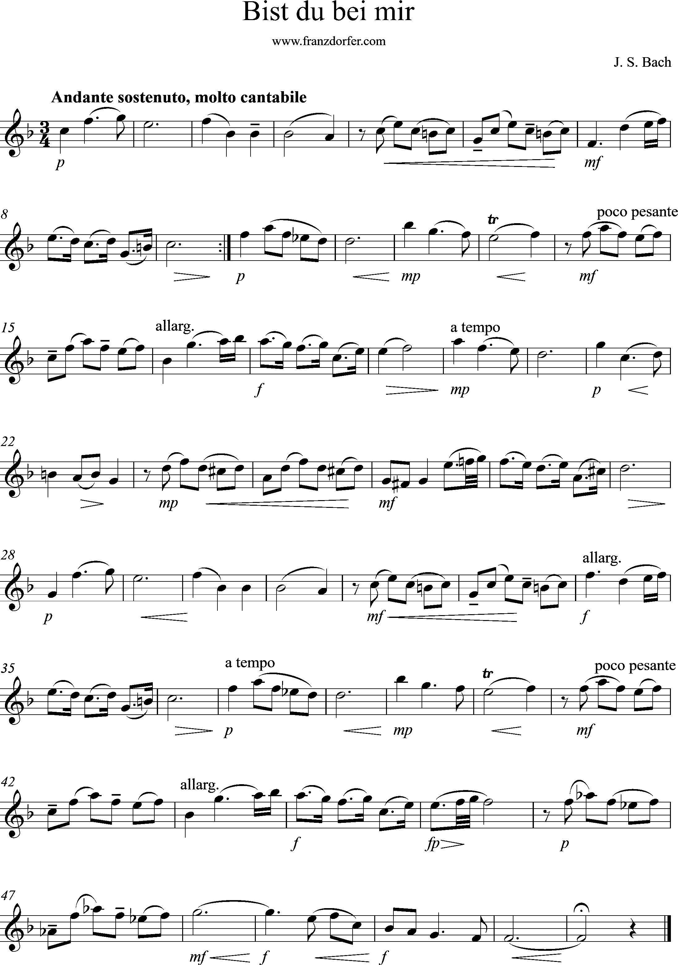 Solopart Clarinet, BWV 508