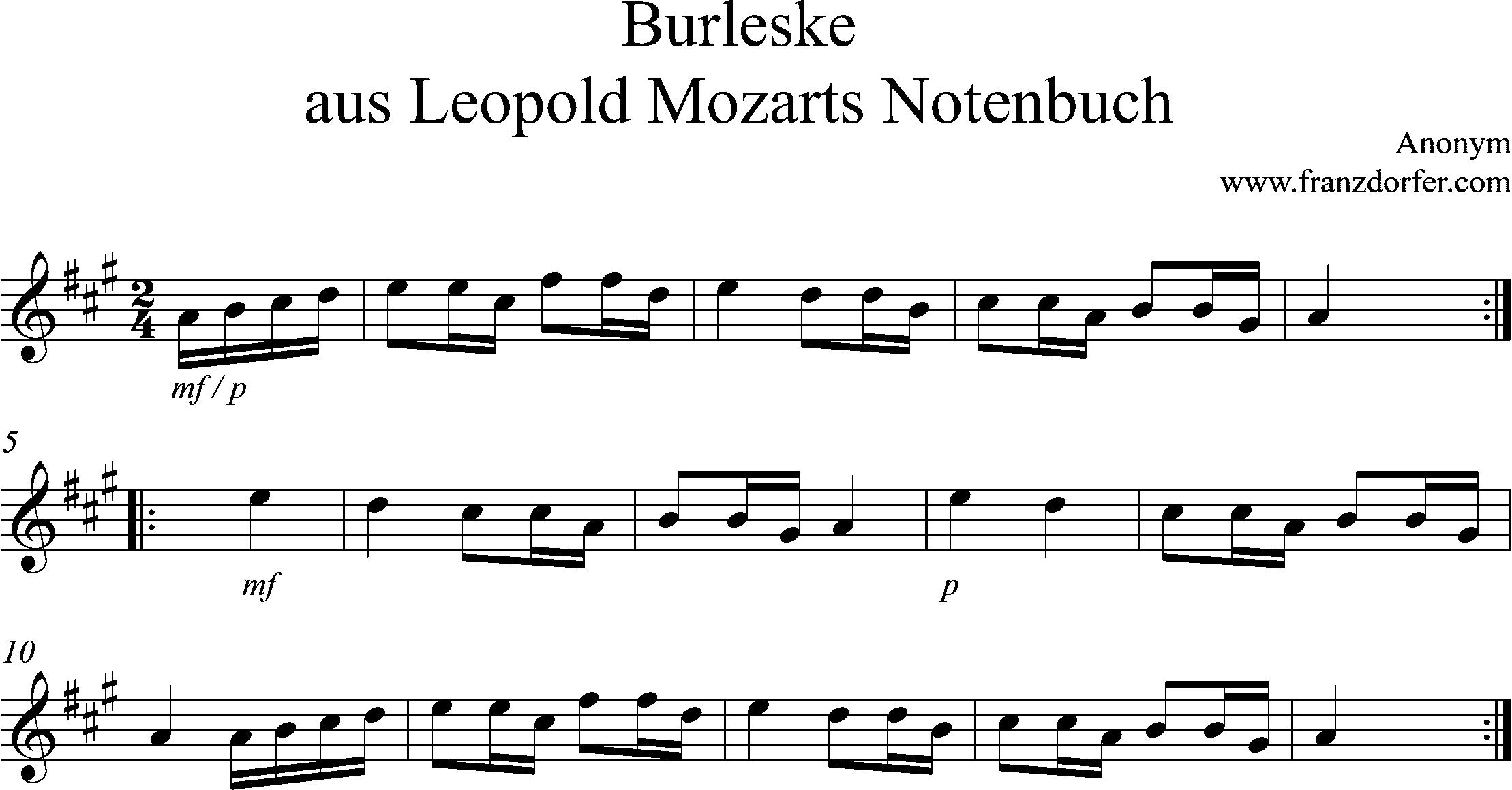 Clarinet solo, Burleske A-Dur