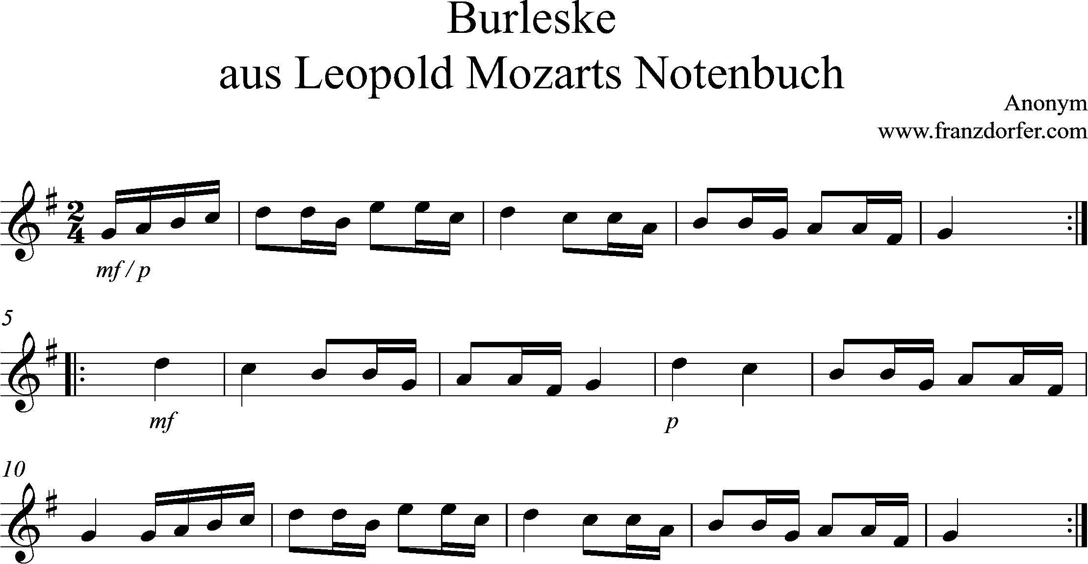 Noten für Blockflöte, Burleske