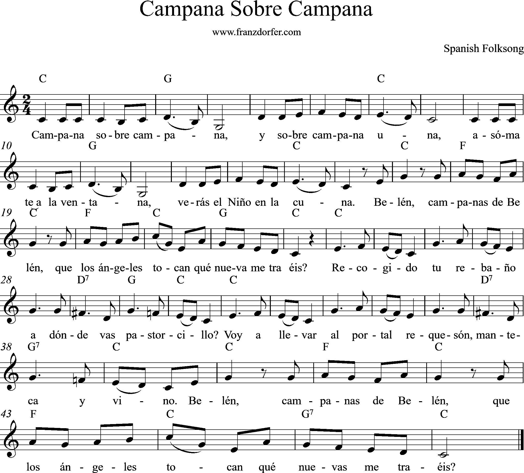 sheetmusic, C-Major, Campana