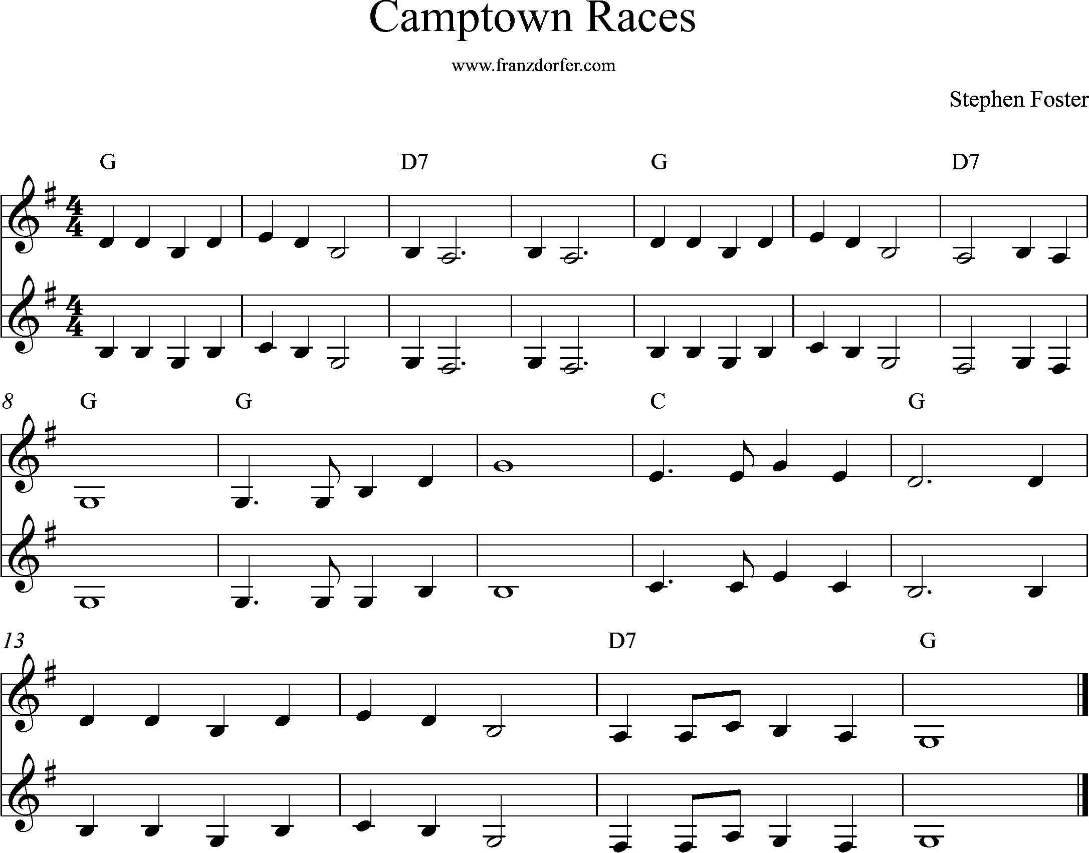 sheetmusic Camtown races , G-Major