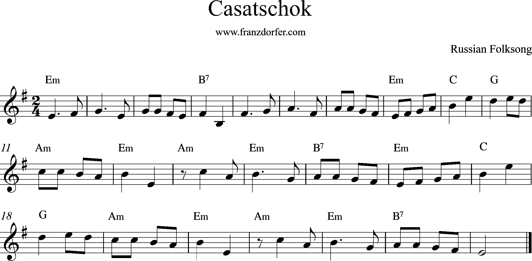clarinet sheetmusic, Casatschok