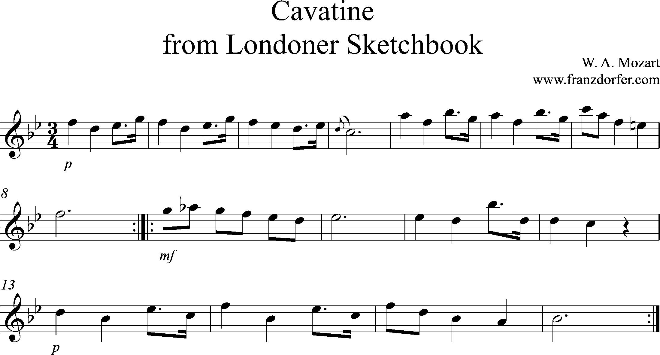 Clarinet Sheetmusic, Cavatine, Mozart