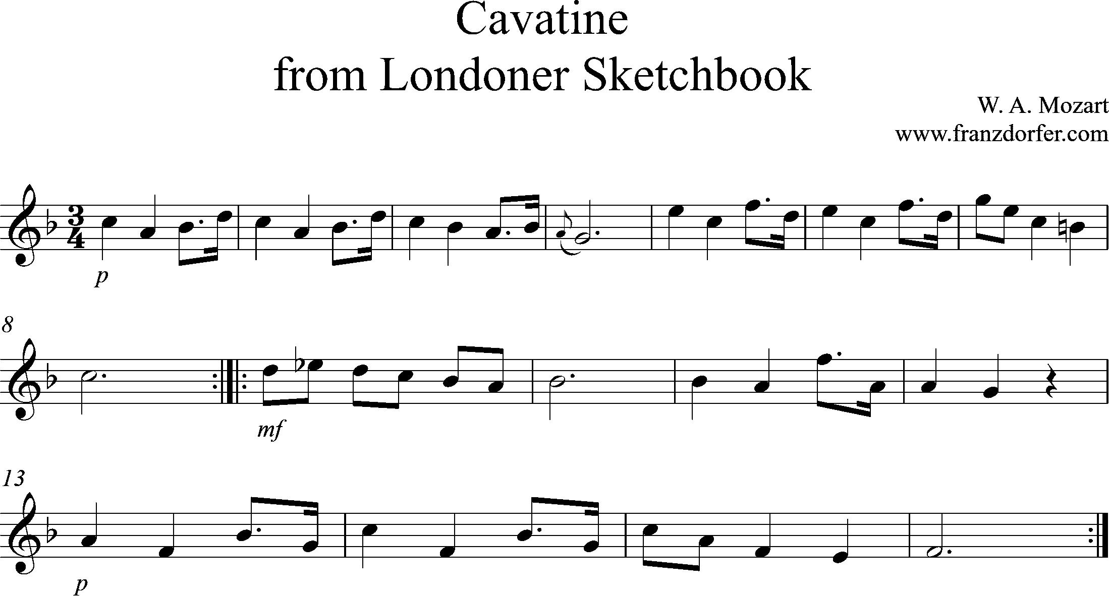 Noten für Blockflöte, Londoner Skizzenbuch