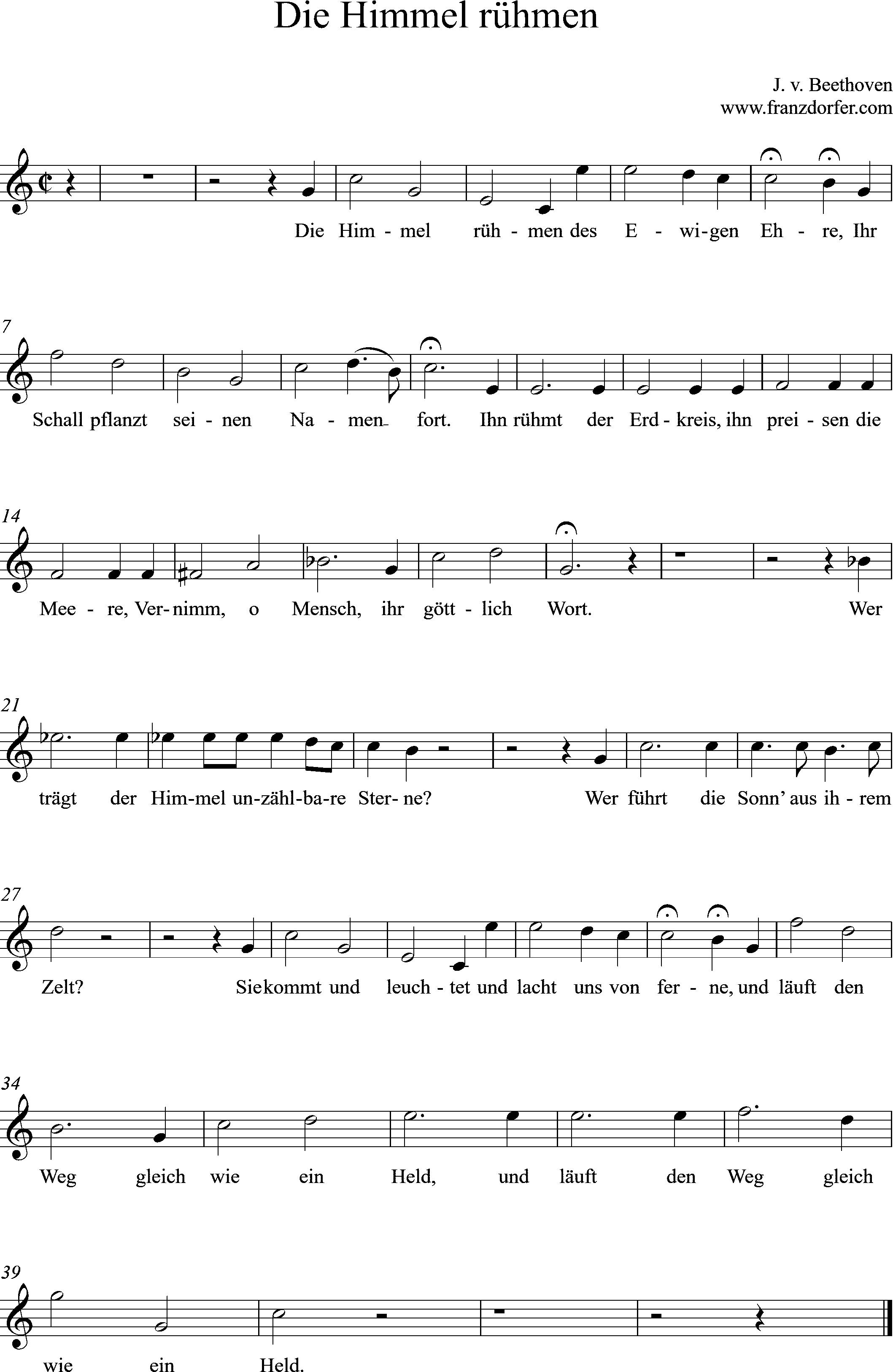 Noten für Flöte, Die Himmel rühmen, C-Dur