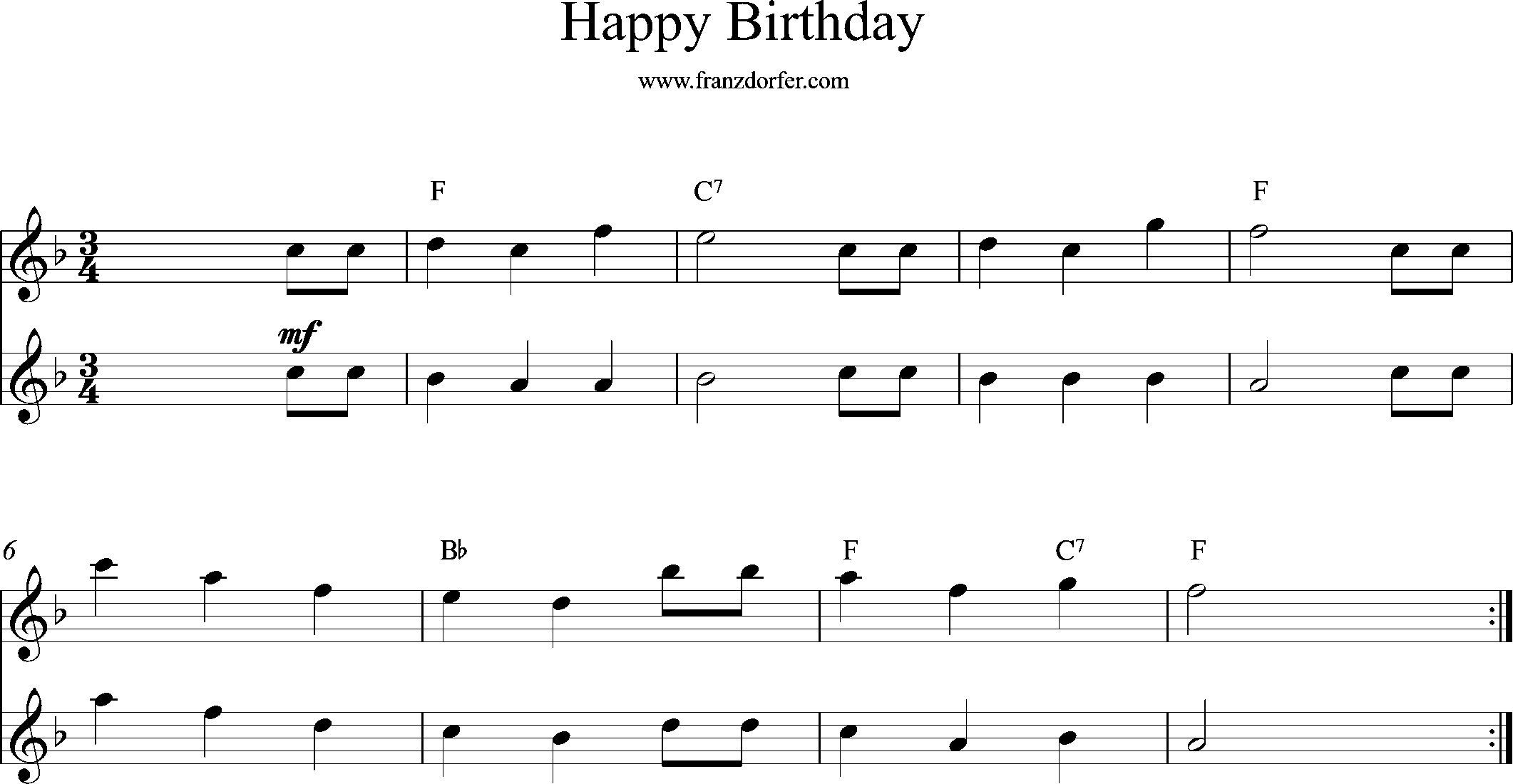 sheetmusic for Flute, Happy Birthday, F-Major