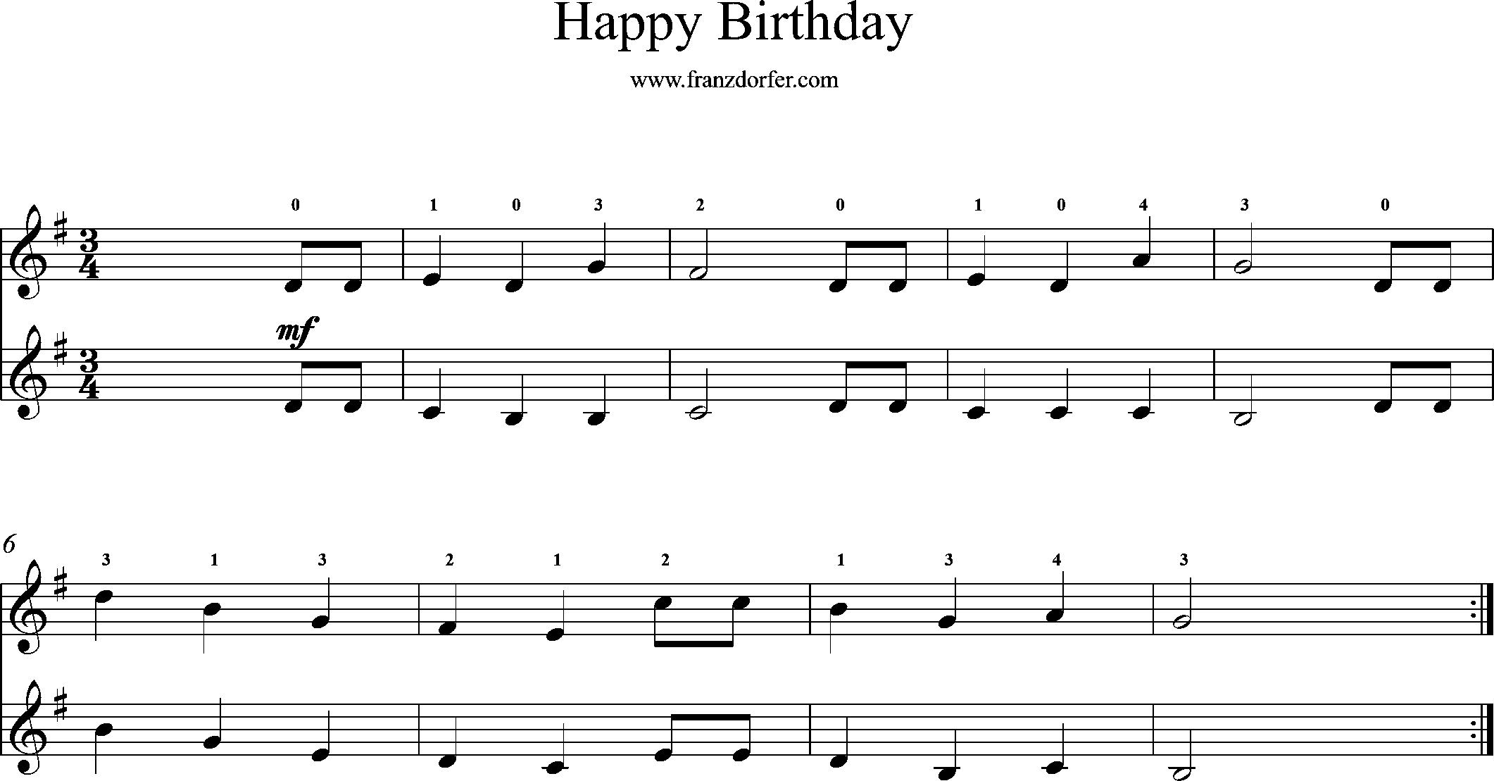 Sheetmusic for Violin, G-Major, Happy Birthday