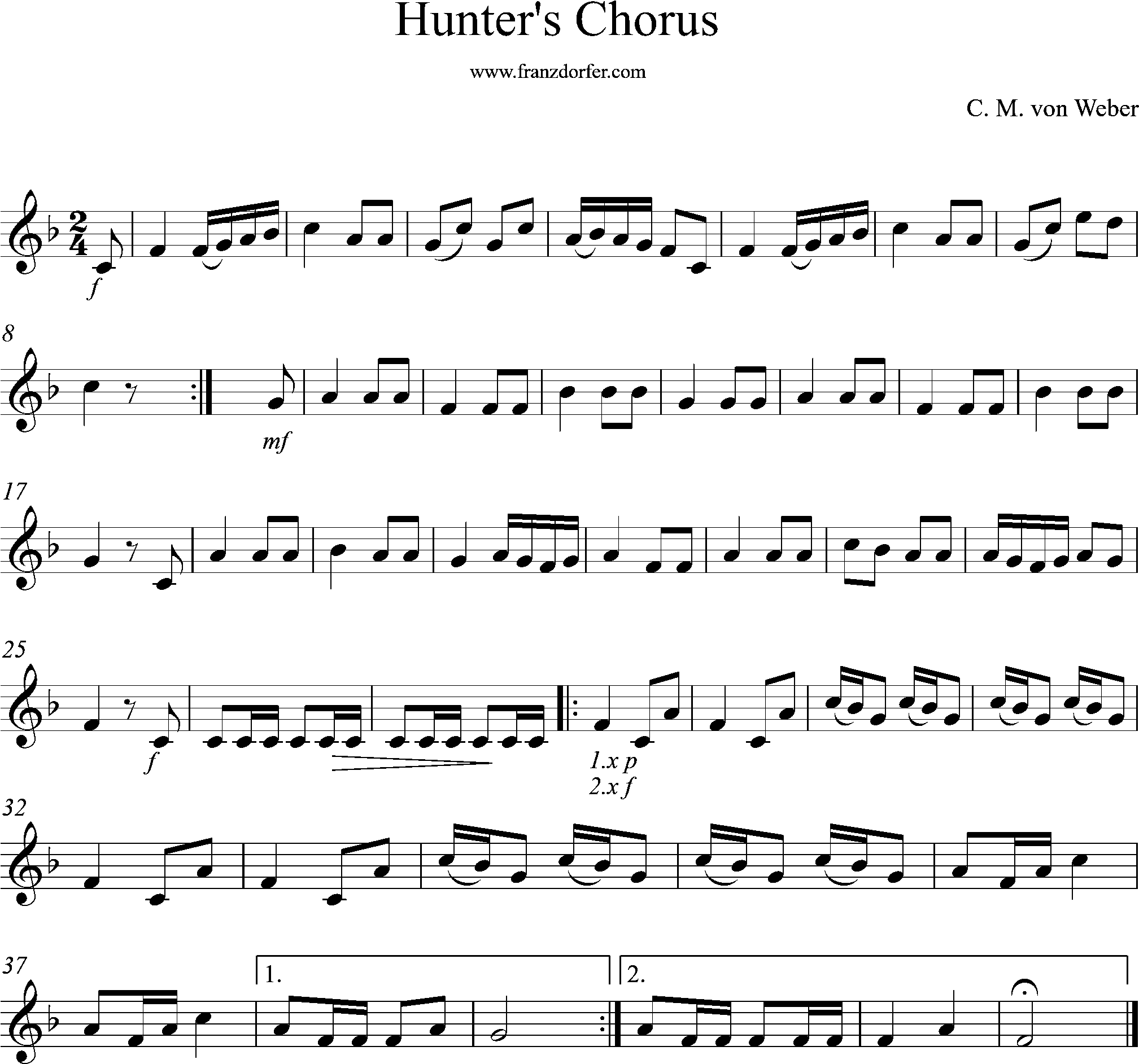 Sheetmusic, Hunters chorus, F-Major