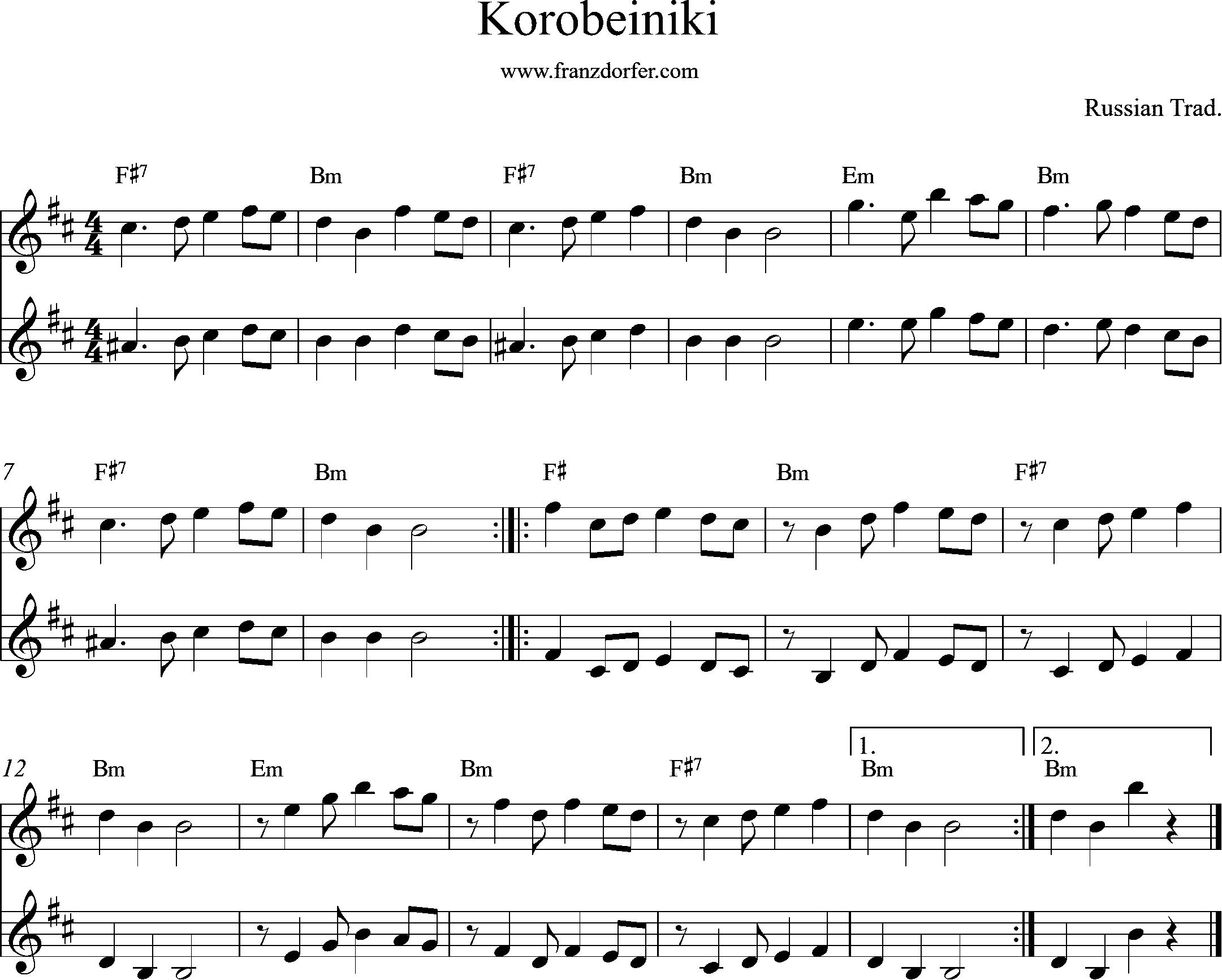 sheetmusic Korobeiniki -Tetris