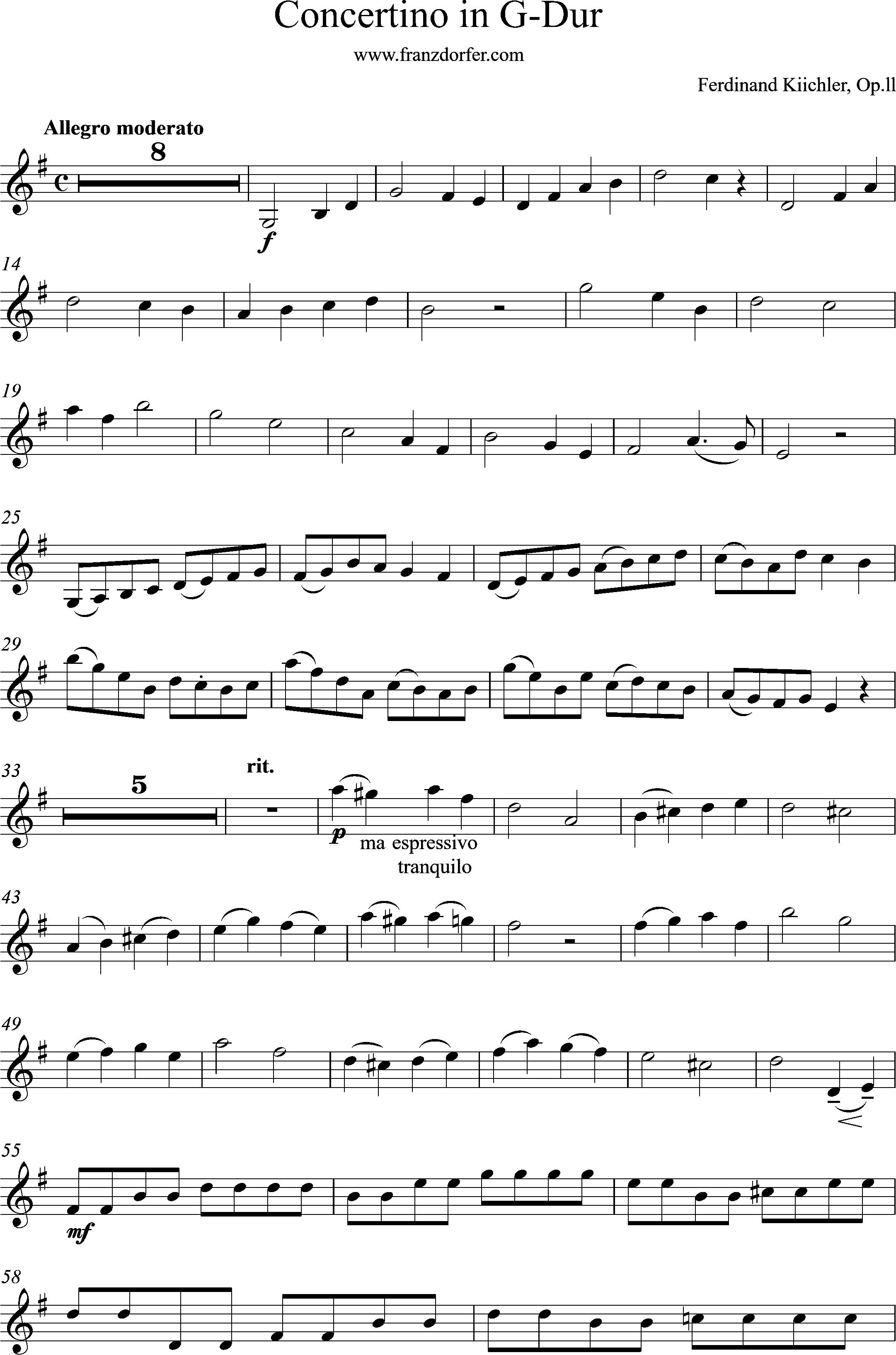 Solopart Küchler Concertino in G