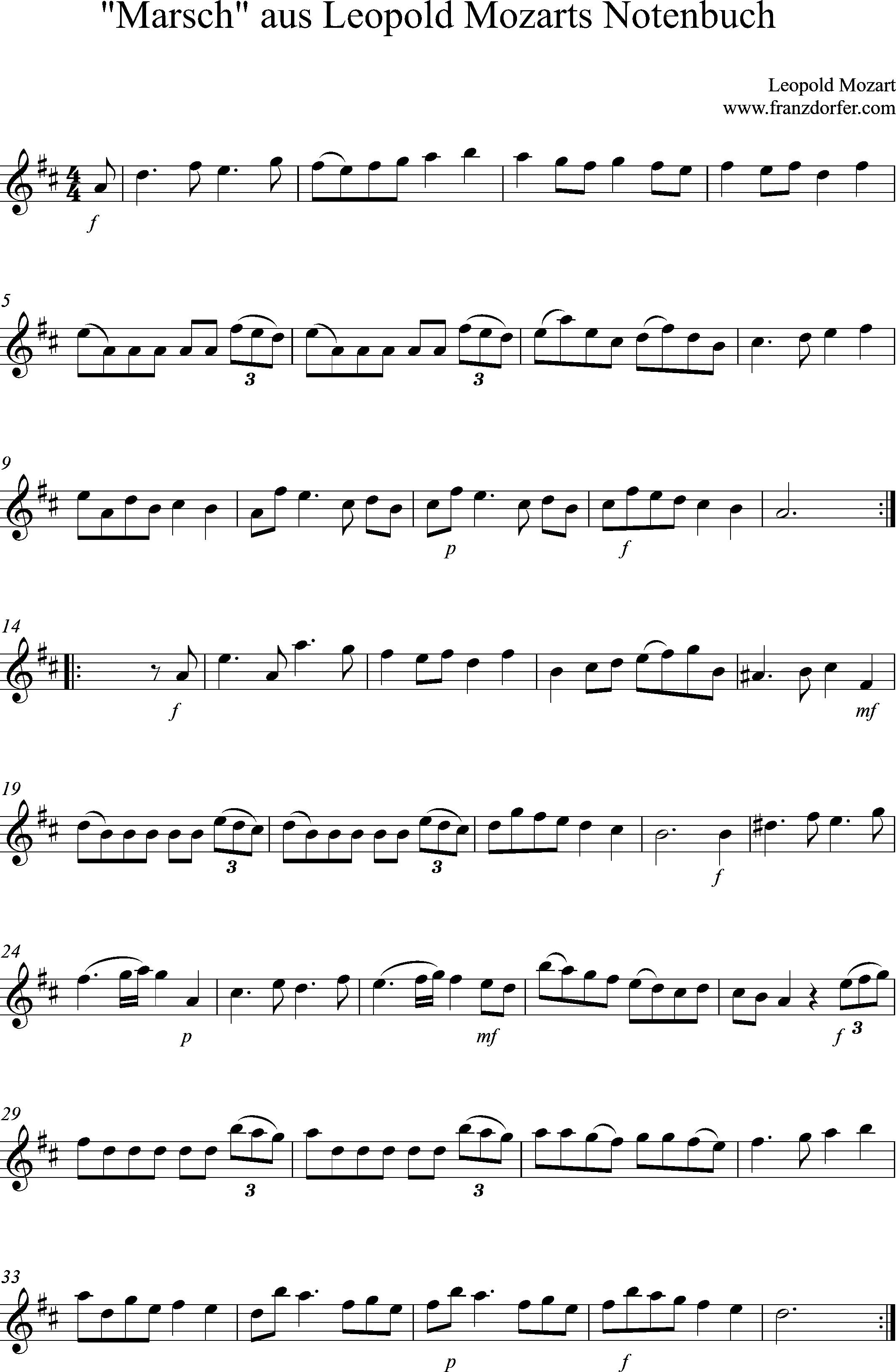 Noten Klarinette, Marsch Leopold Mozart