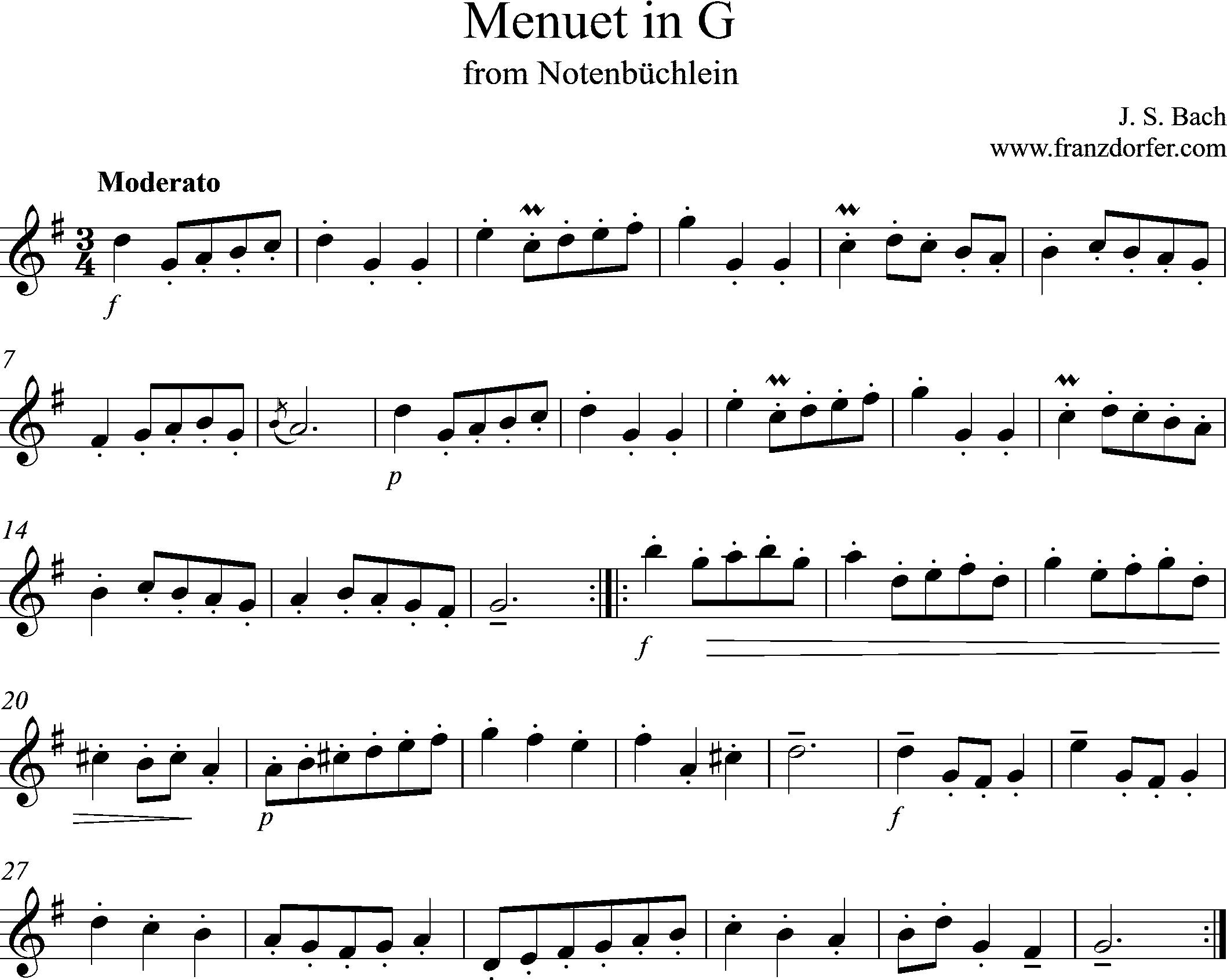 Noten für Blockflöte, MEnuet in G, Bach