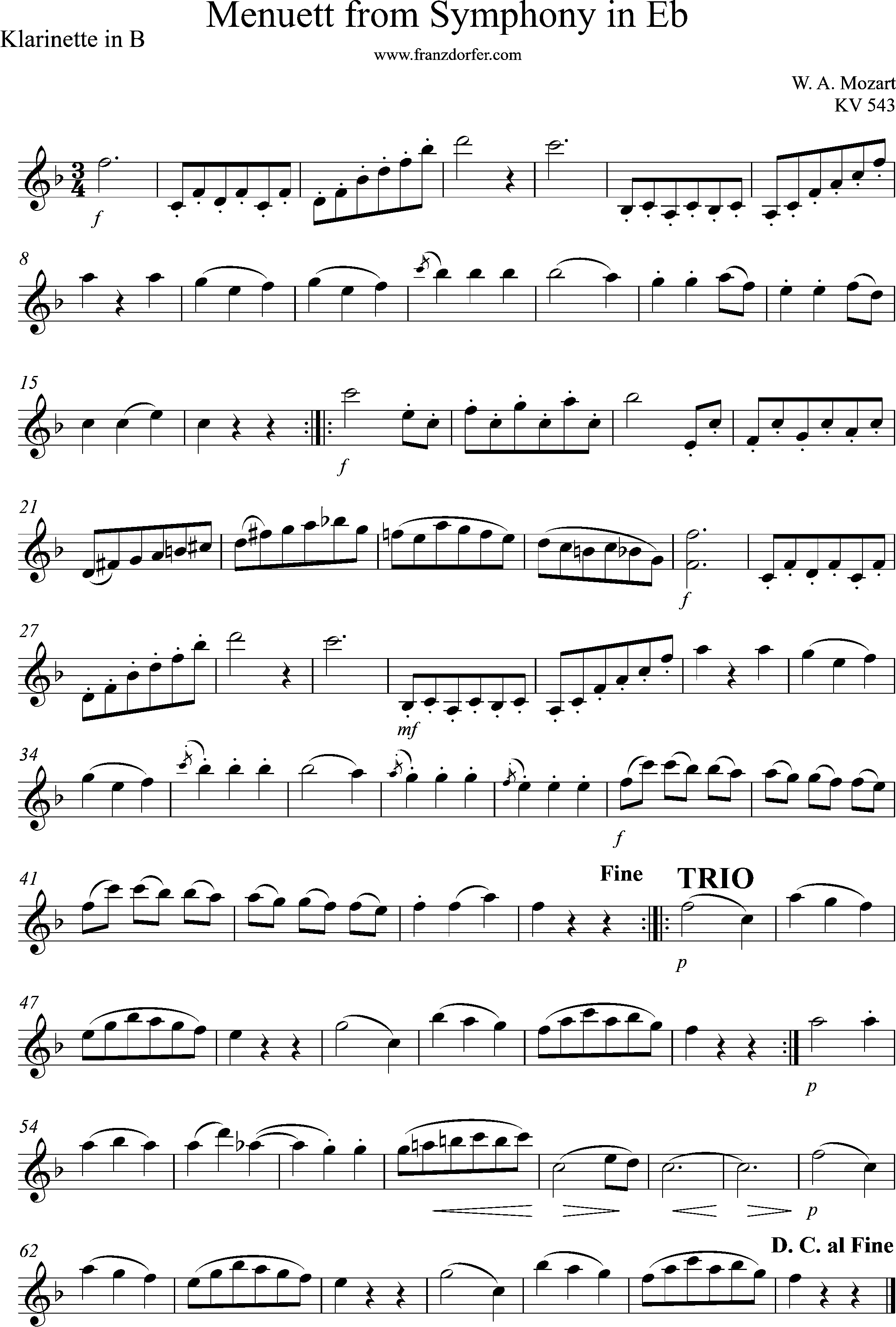Solopart, Menuet, KV543
