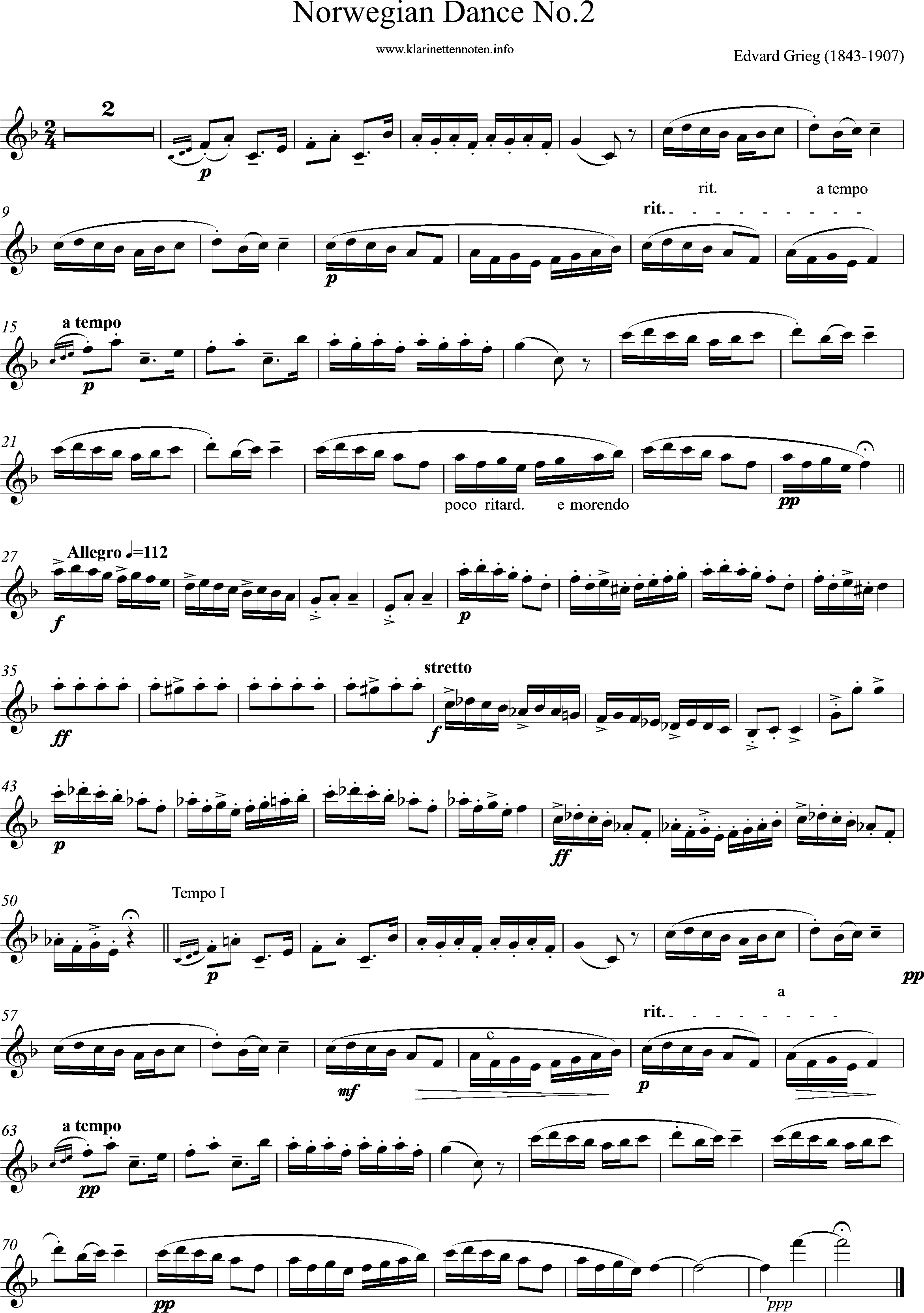 Solopart, Norwegian Dance No2, F-Major