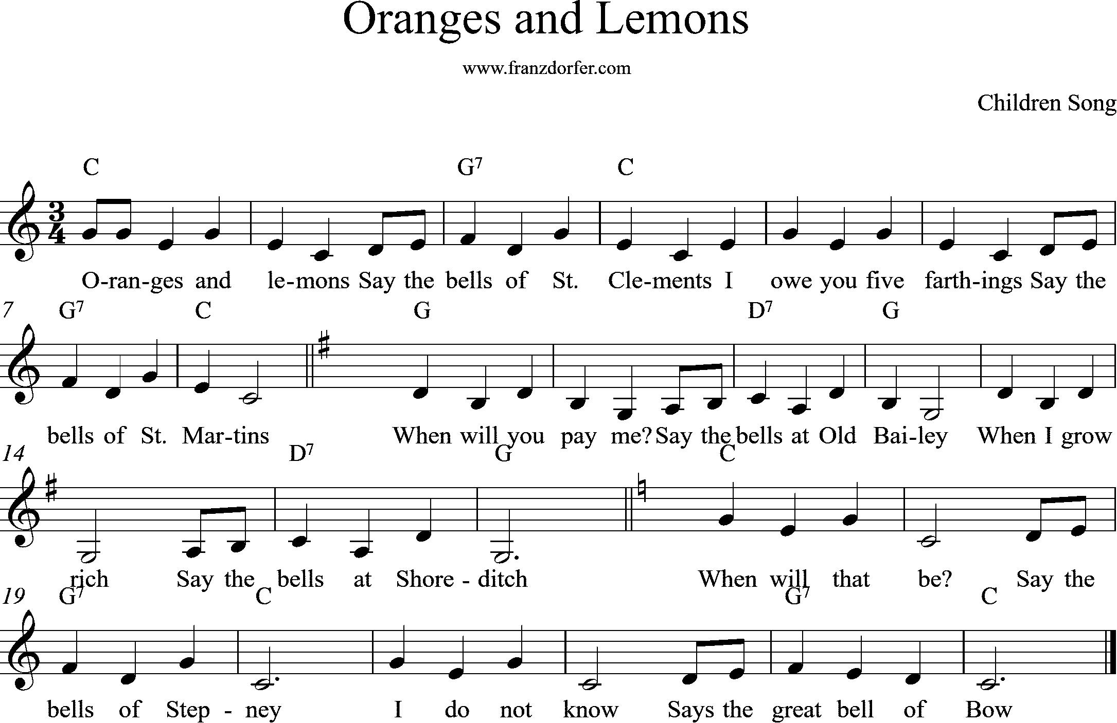 Clarinet Sheetmusic Oranges and Lemons