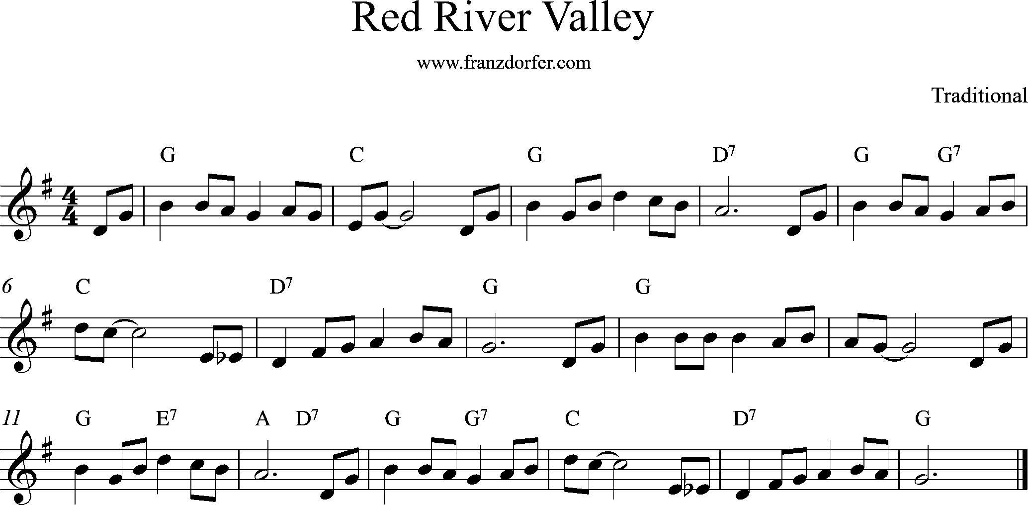 Red River Valley, C-Major