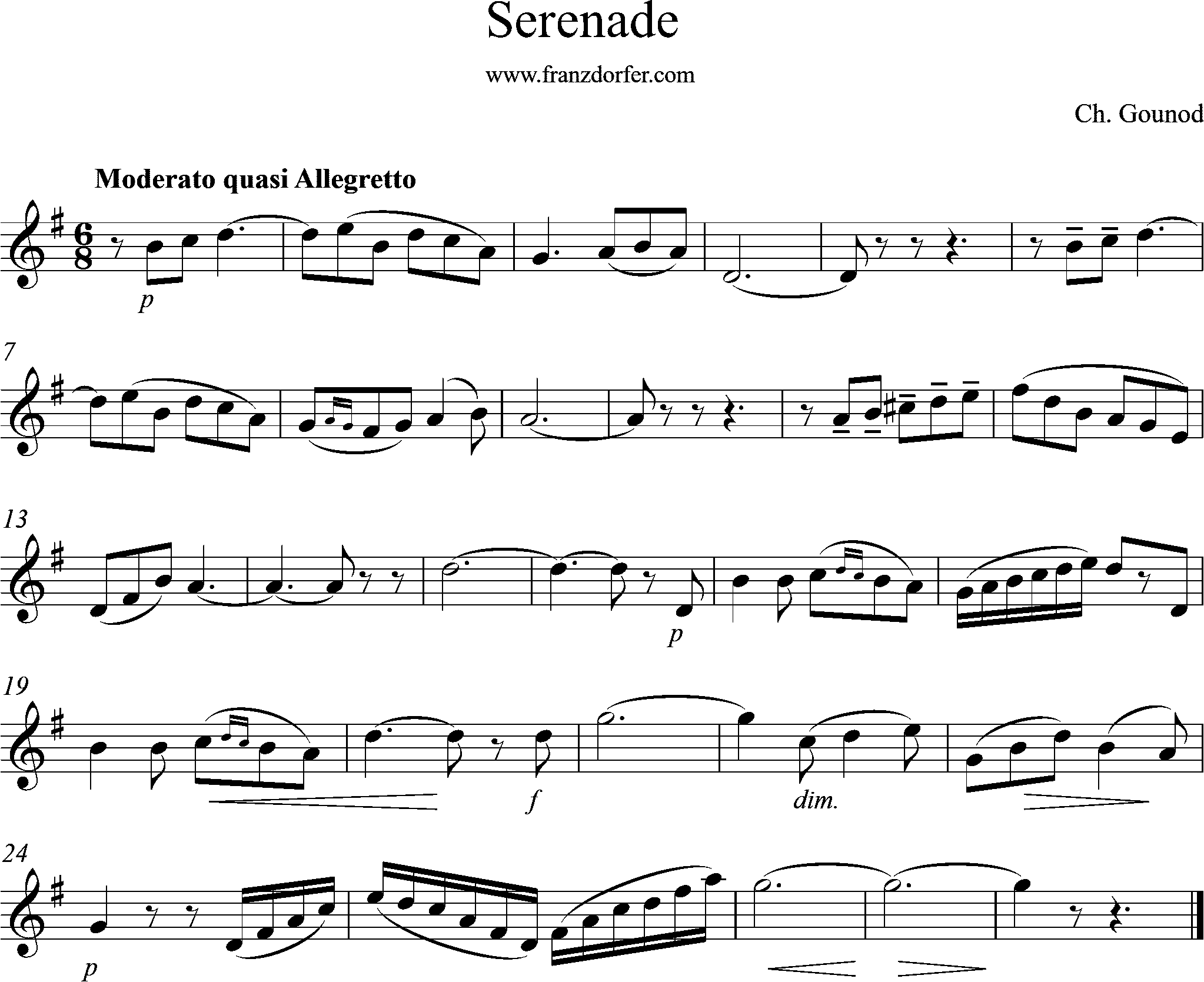 sheetmusic Serenade. Gounod, G-Major