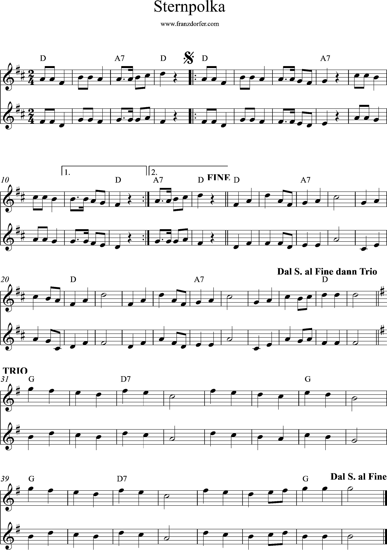 Duo Noten- Sternpolka