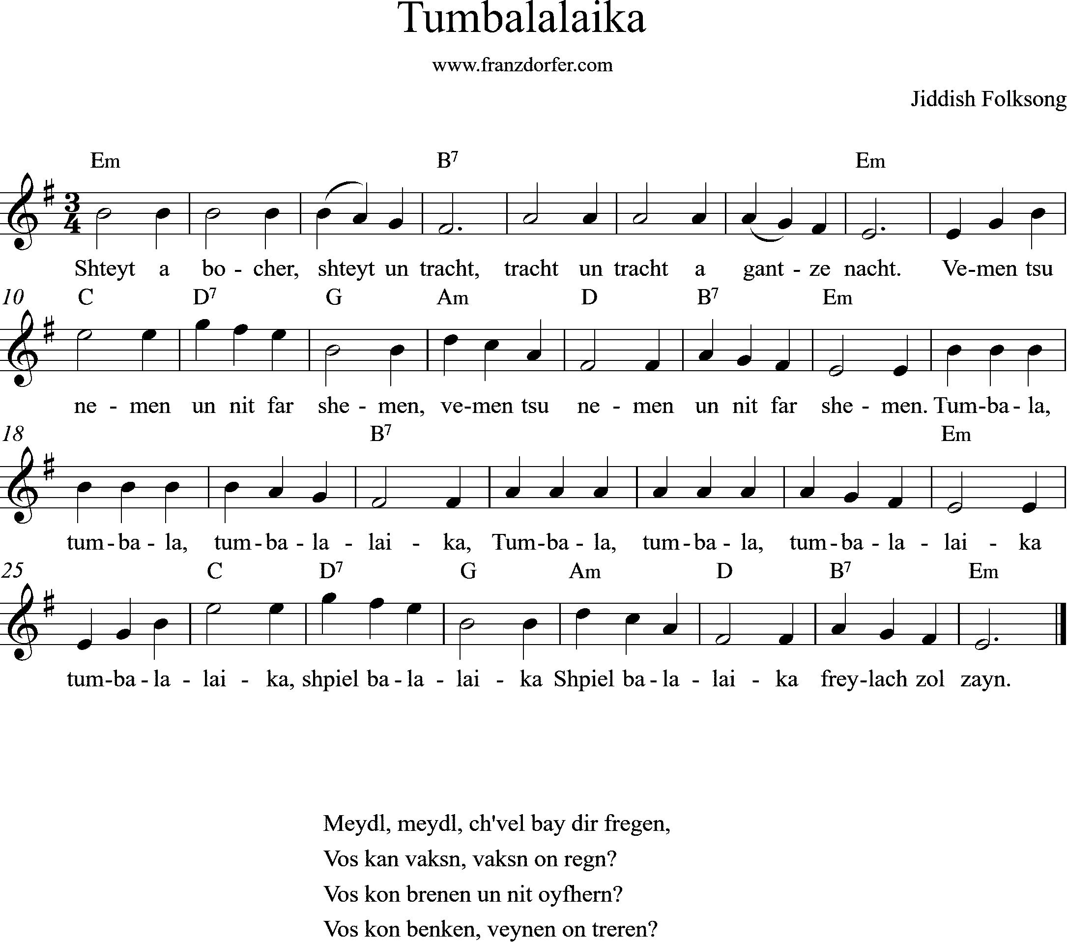 Leadsheet, Tumbalaika, e-minor