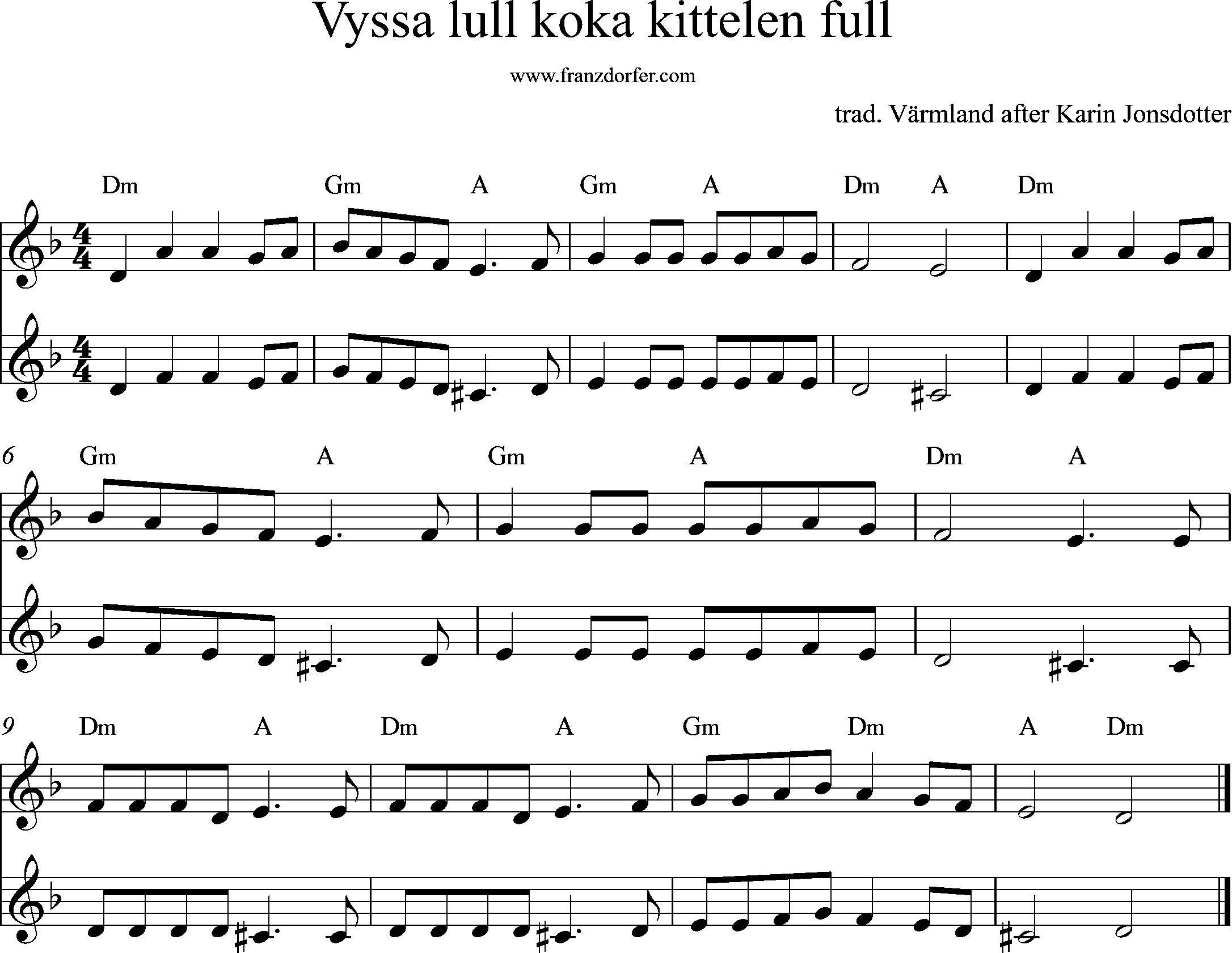 sheetmusic - PDF Sheetmusic -Vyssa lull koka kittelen full, dm