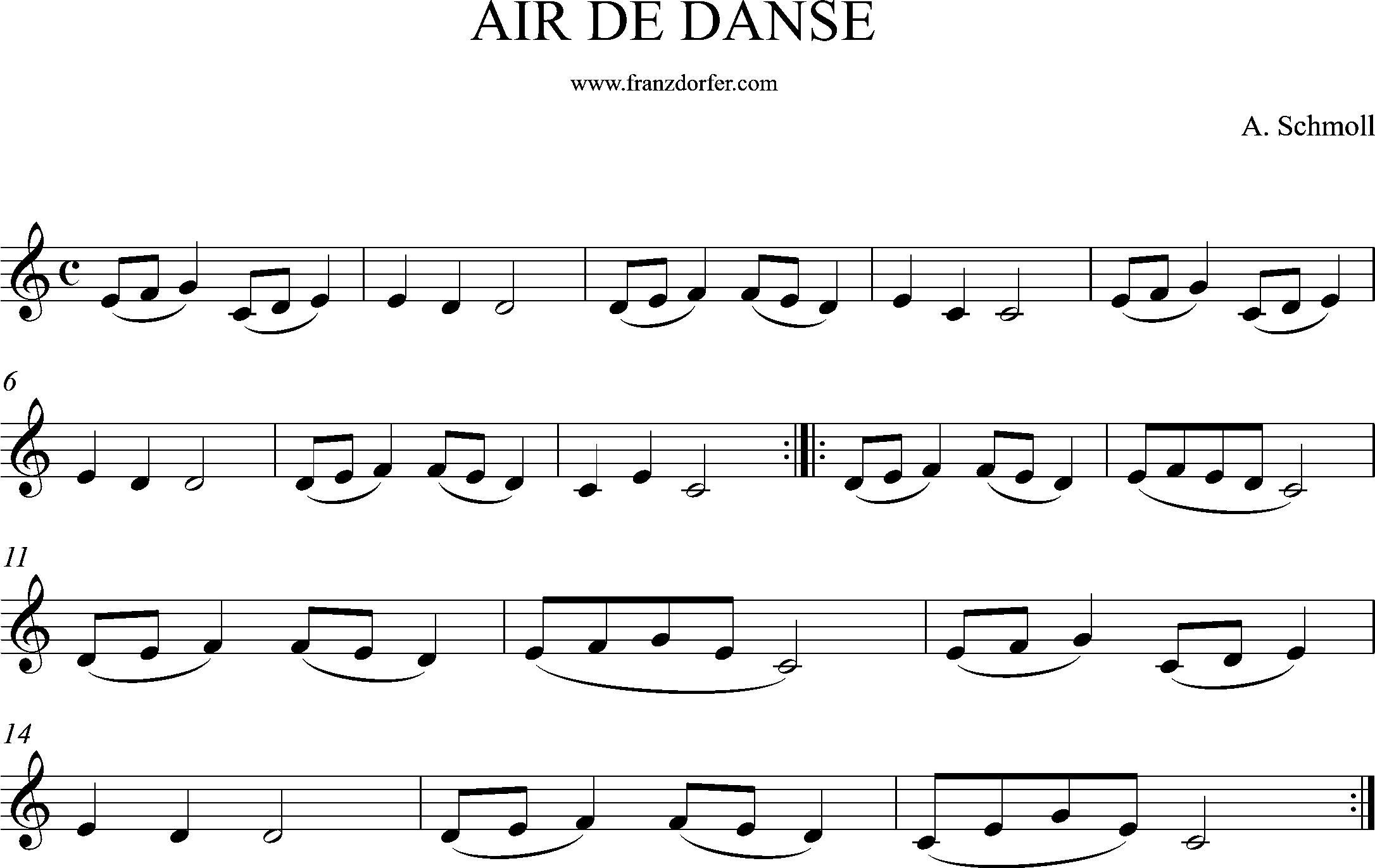 Clarinet, sheetmusic, Air de Danse, Schmoll