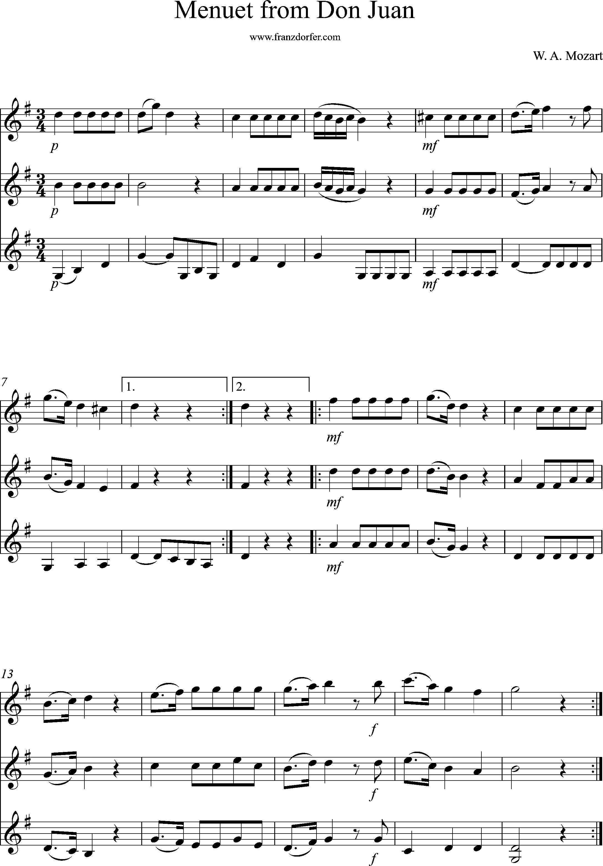 noten, klarinettentrio, Menuett von Don Juan