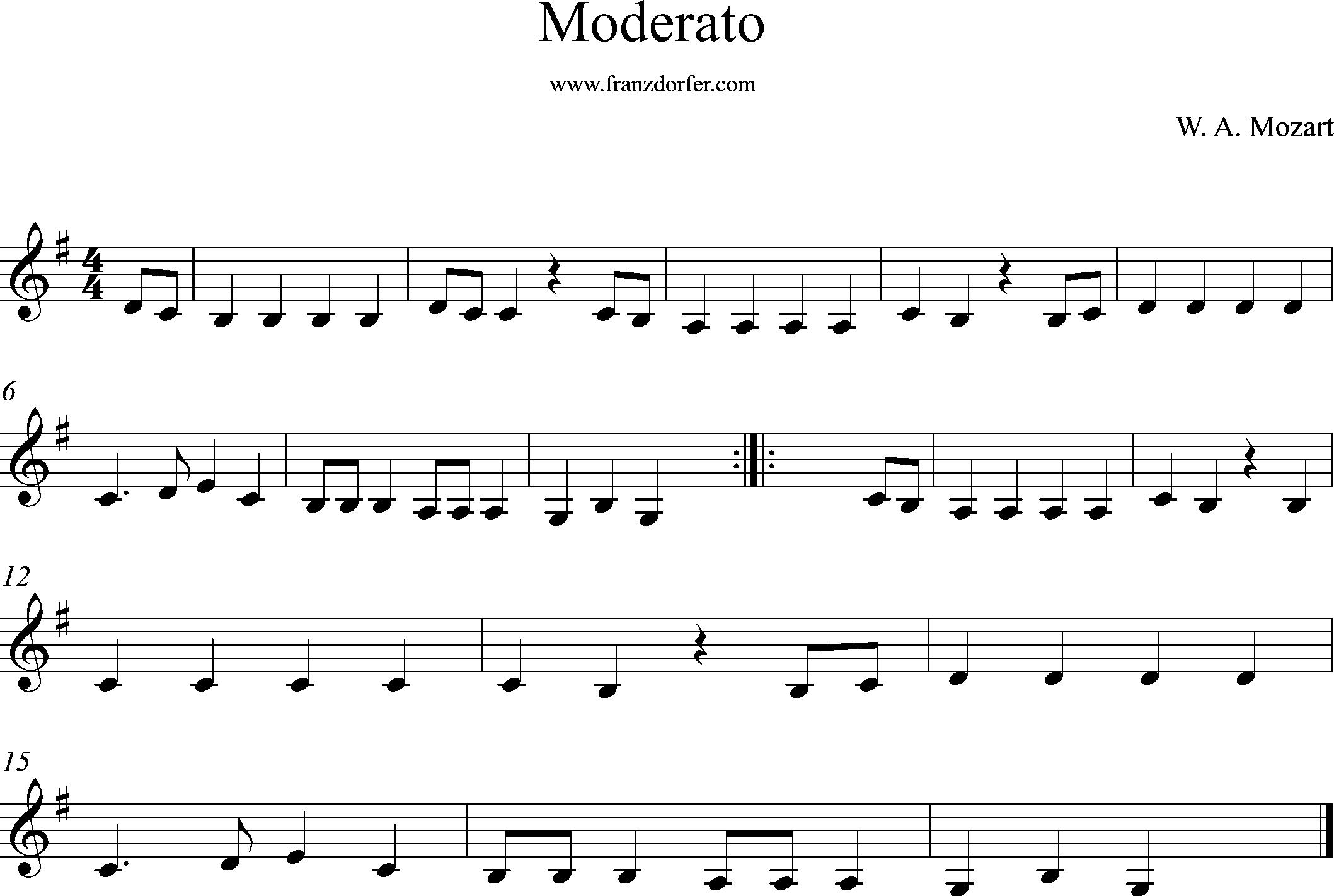 Klarinettennoten- Moderato Mozart