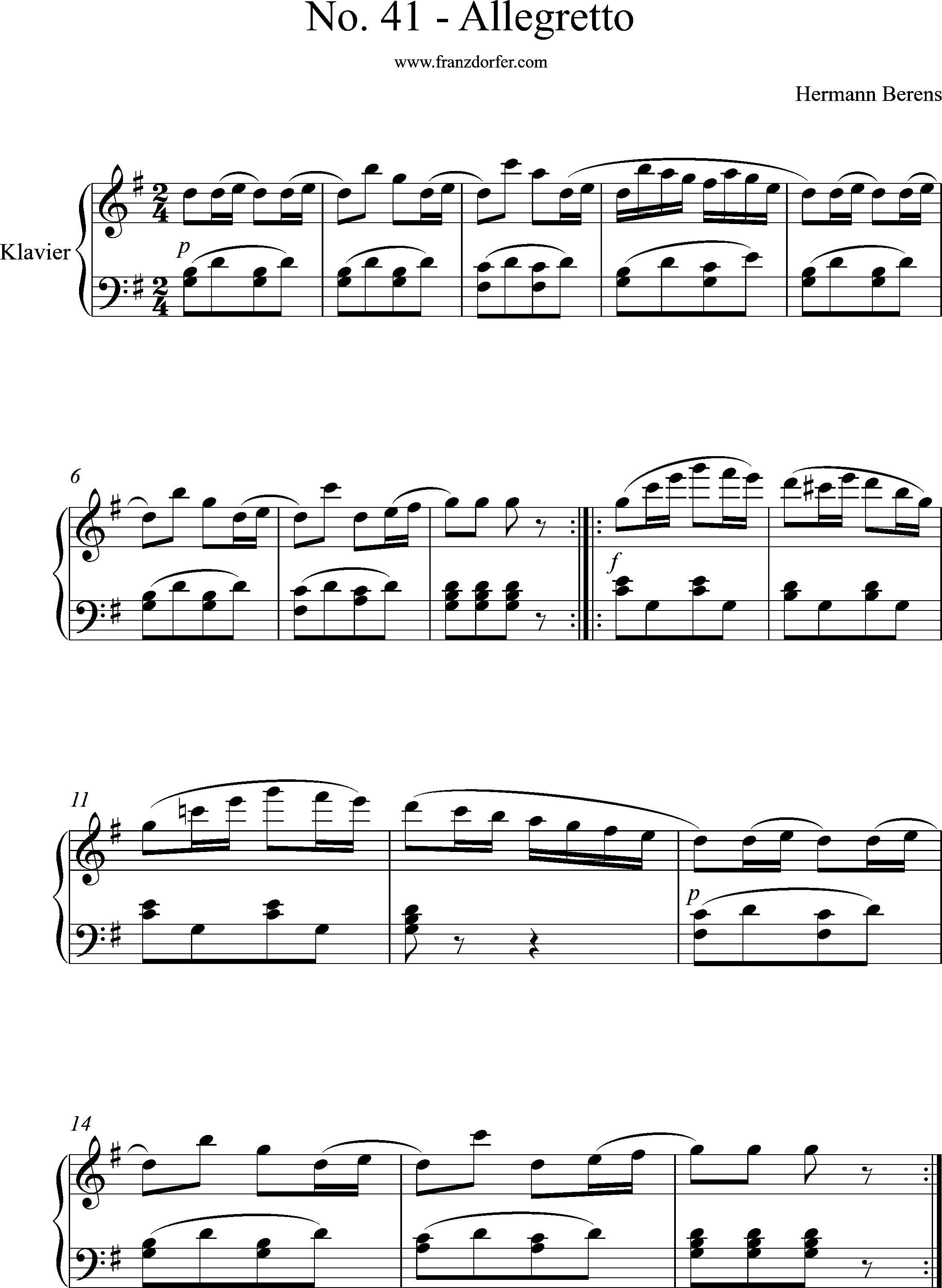 Klaviernoten, Berens, No41, Allegretto