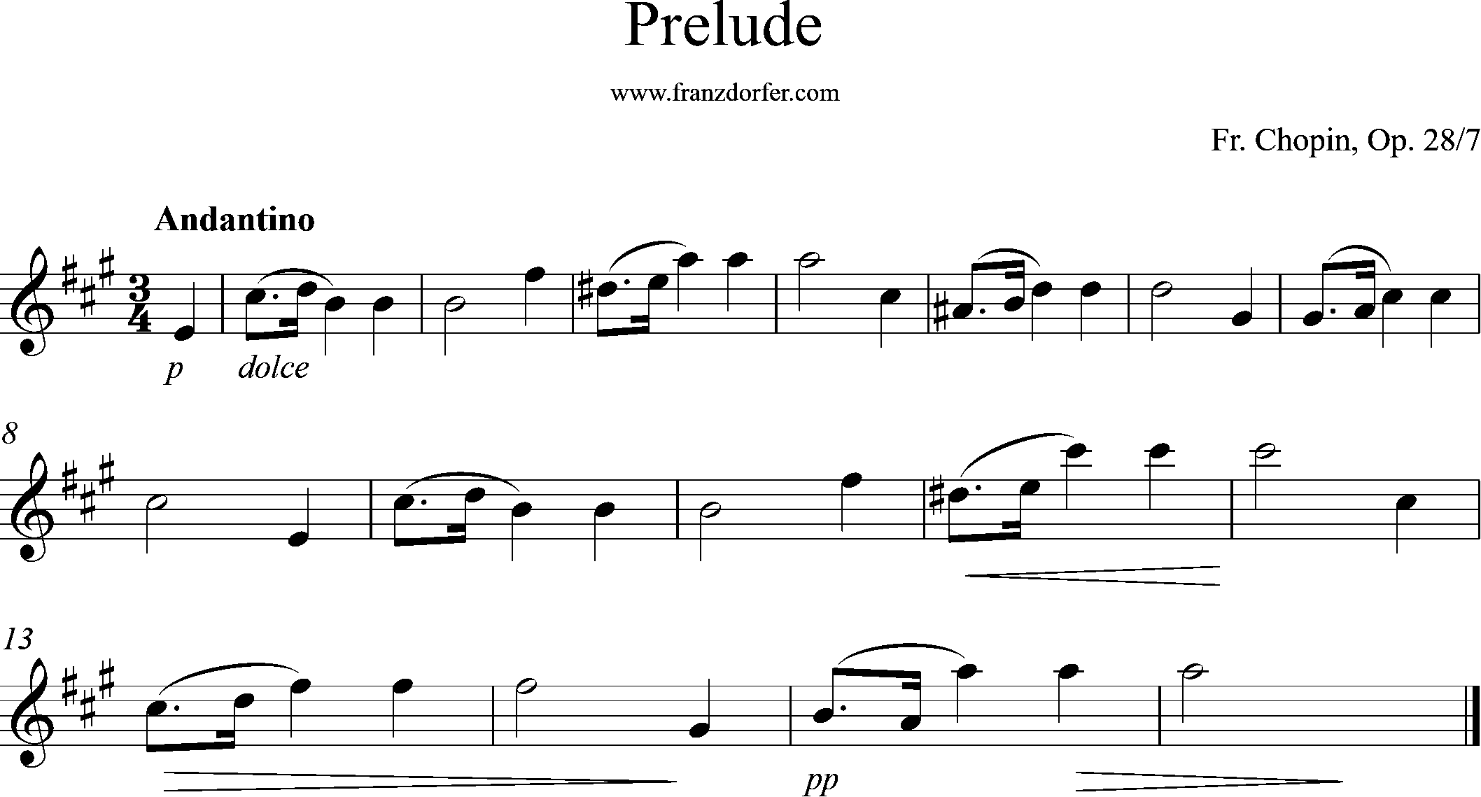 ^Solopart, A-Dur, Prelude Chopin