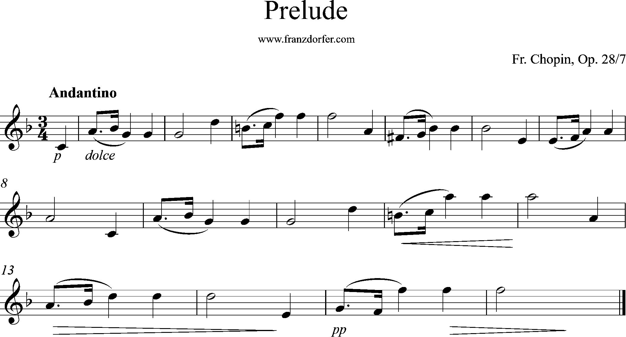 ^Solopart, F-Dur, Prelude Chopin