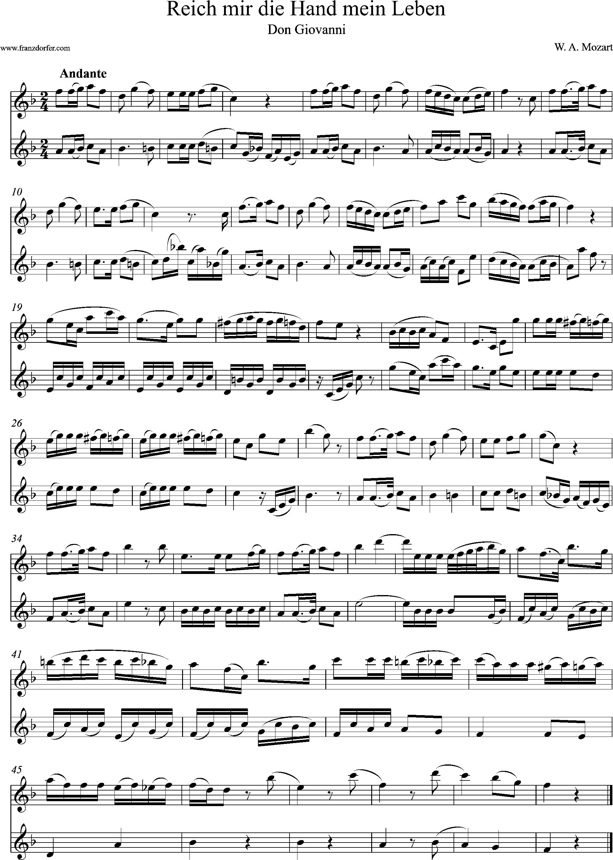 klarinetten Duo, Noten, F-Dur