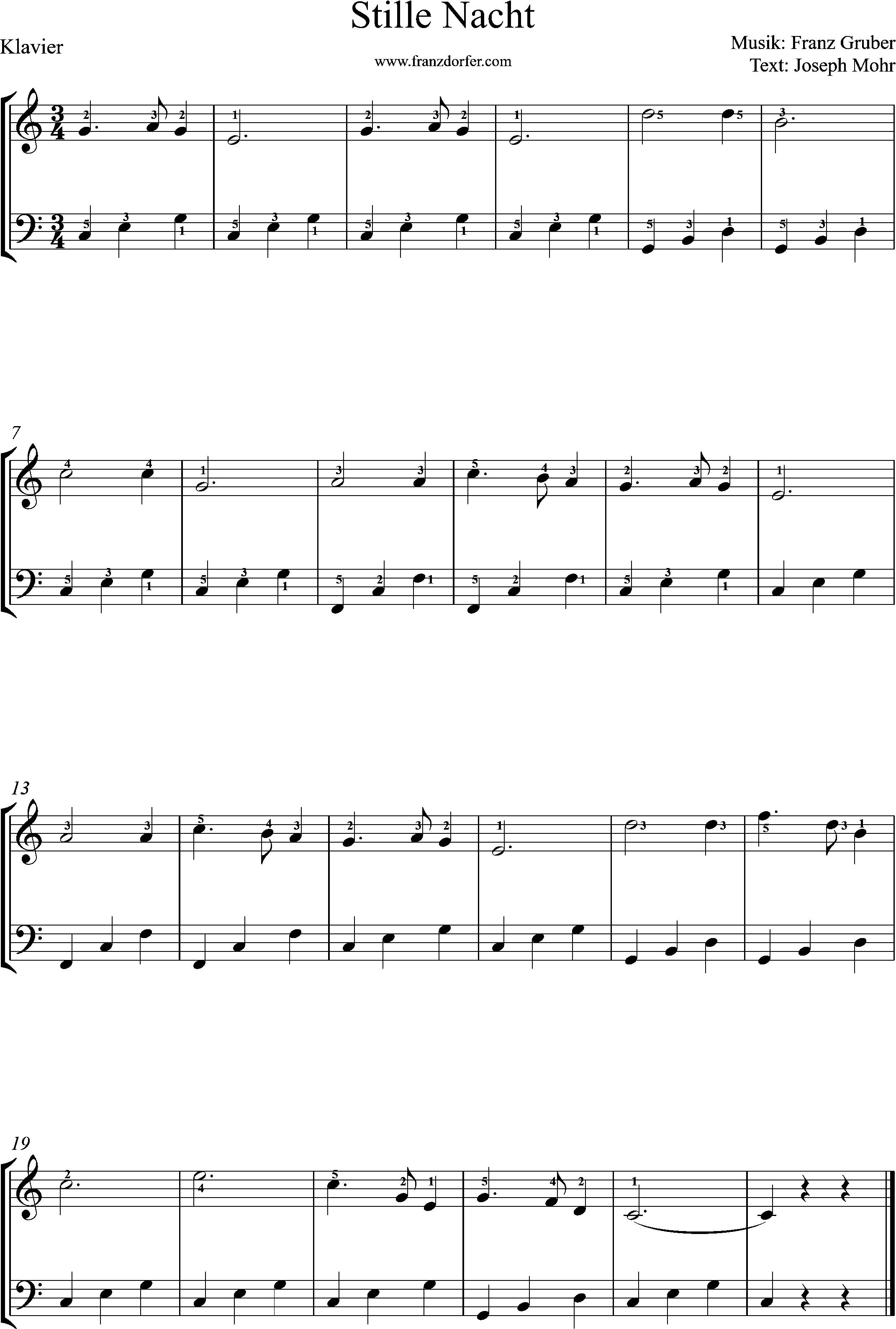 klaviernoten, Stille Nacht