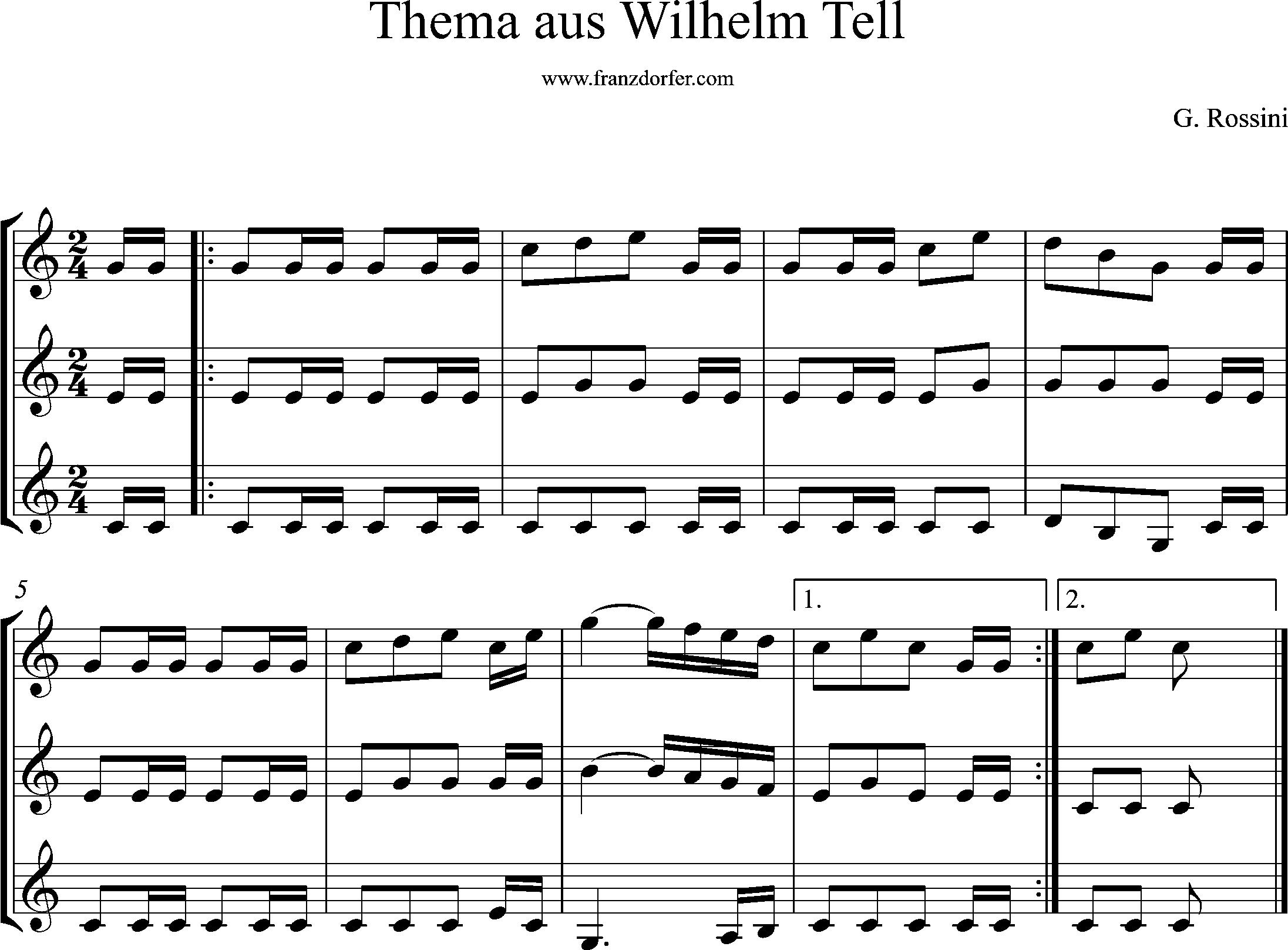 klarinetten trio, Wilhelm Tell, Noten