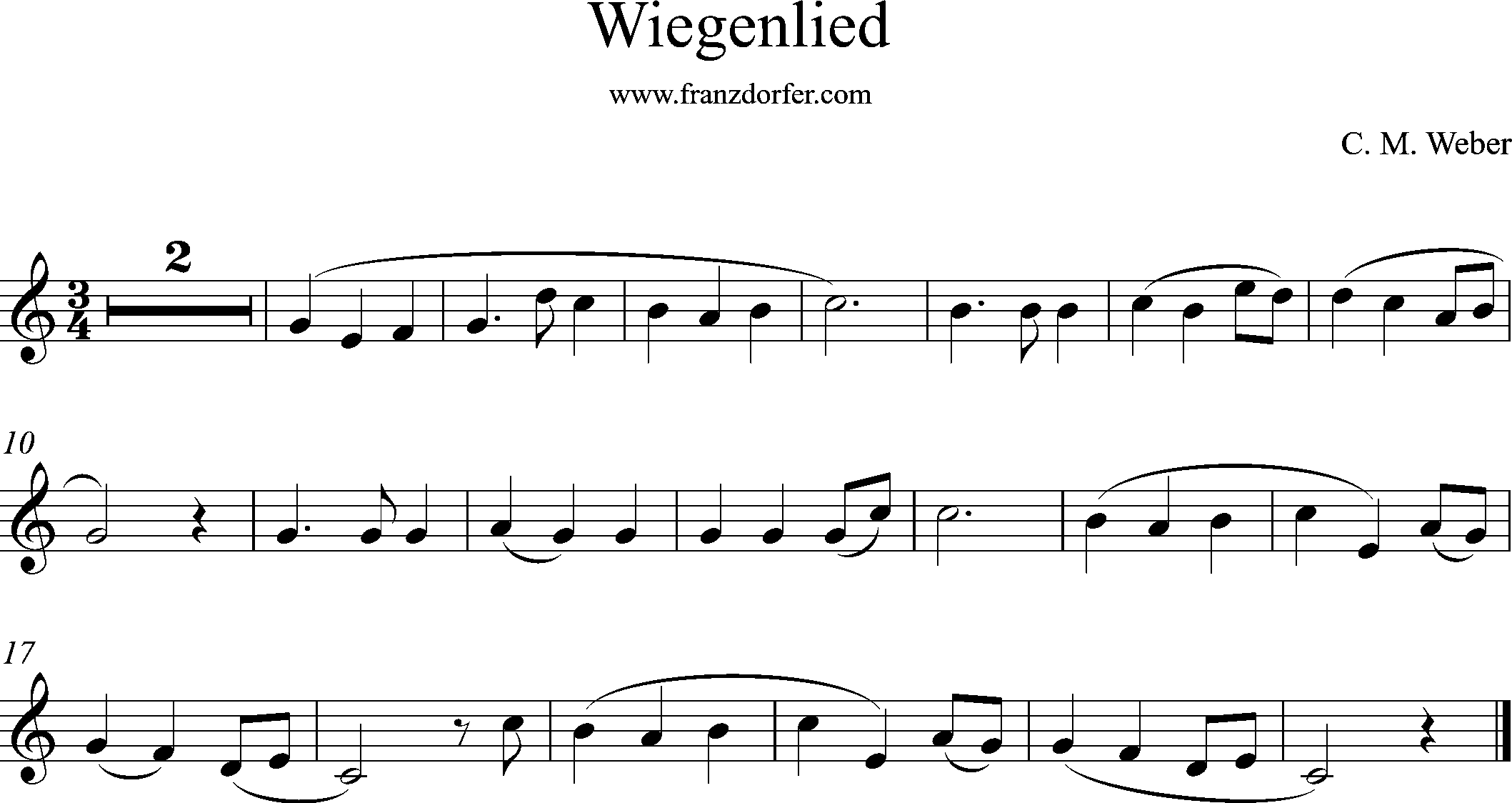 Clarinet sheetmusic, Cradlw song, Weber