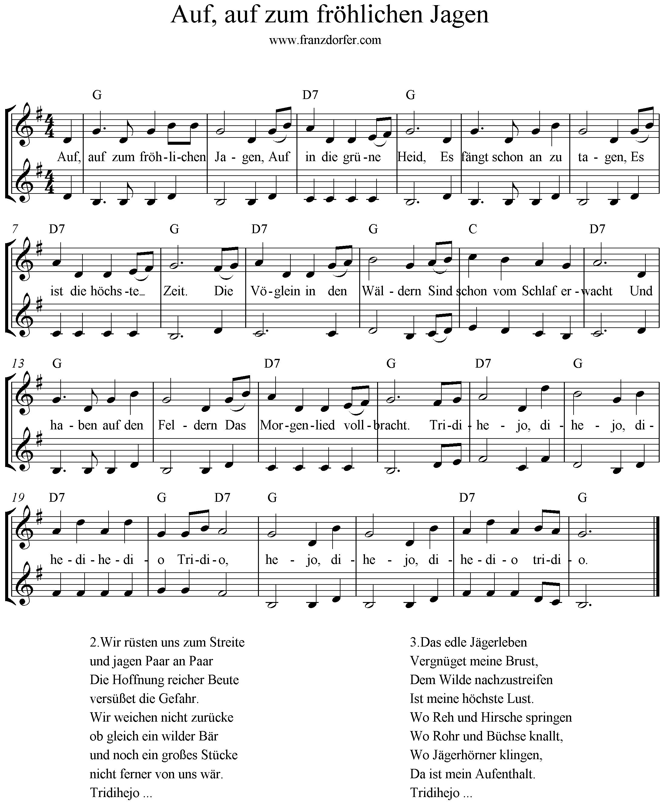 Noten, Auf auf zum fröhlichen jagen, G-Dur, 2stimmig, Blockflöte