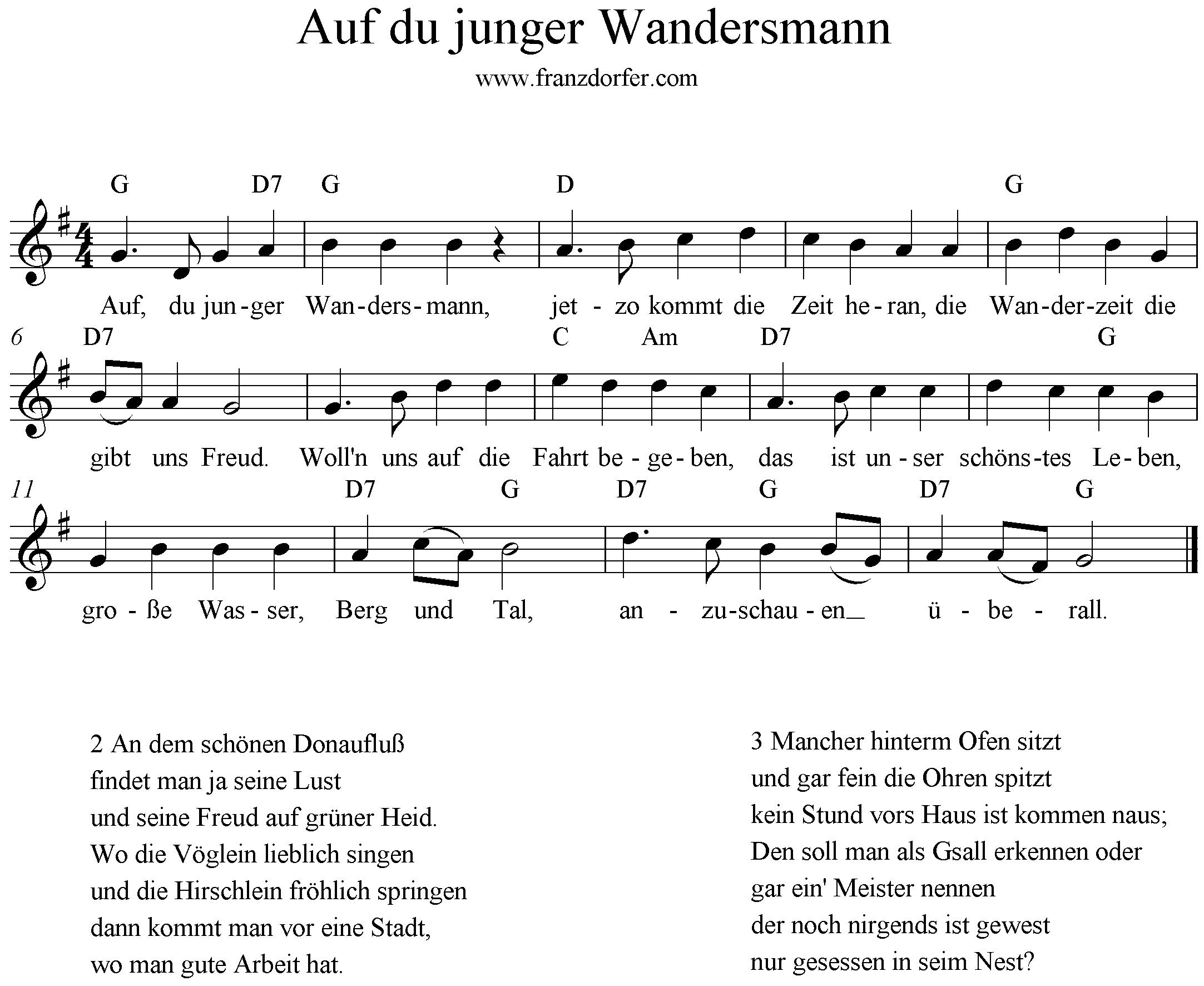Noten Auf du junger wandersmann G-Dur, Blöckflöte