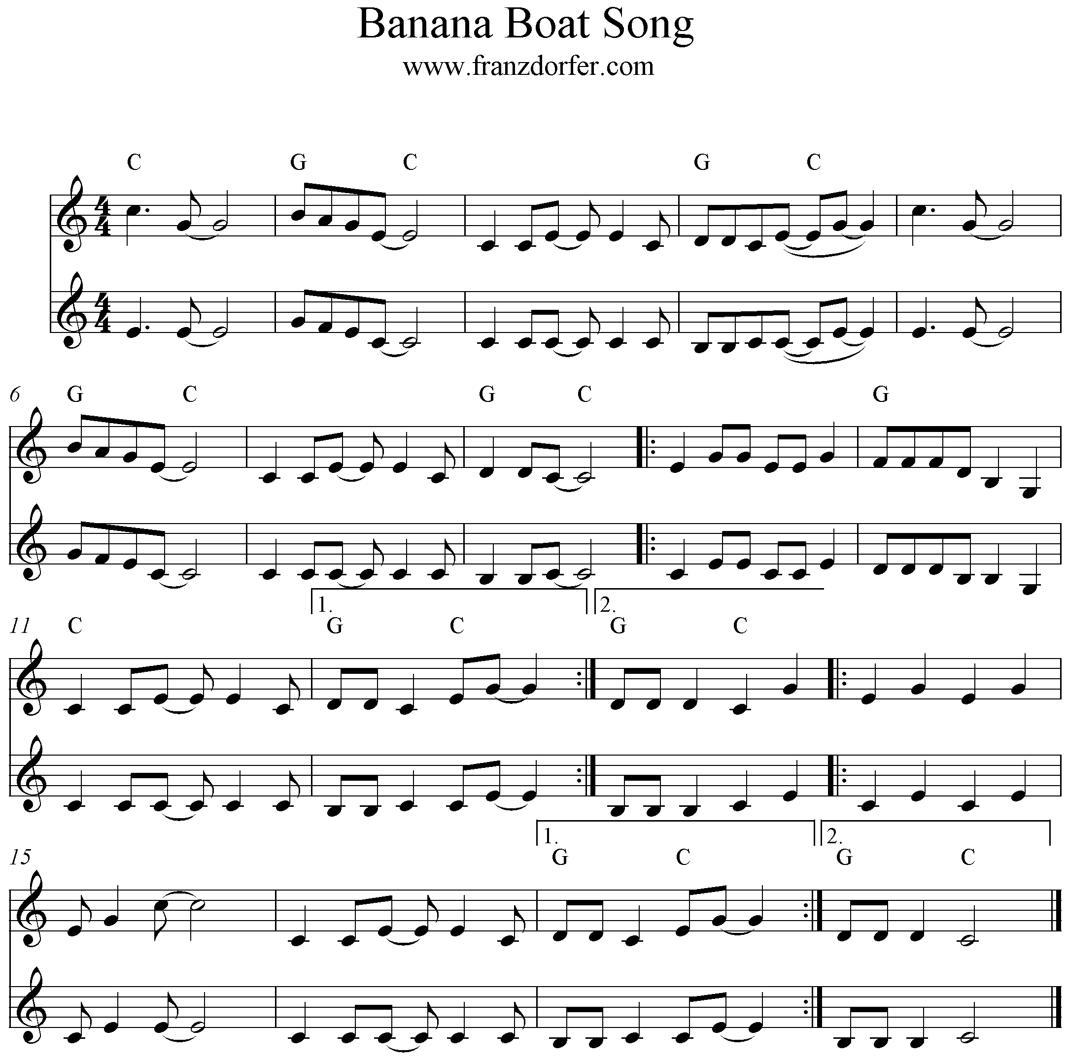 Banana Boat Song, Klarinette, 2 stimmig, Clarinet, Duo, C-Major