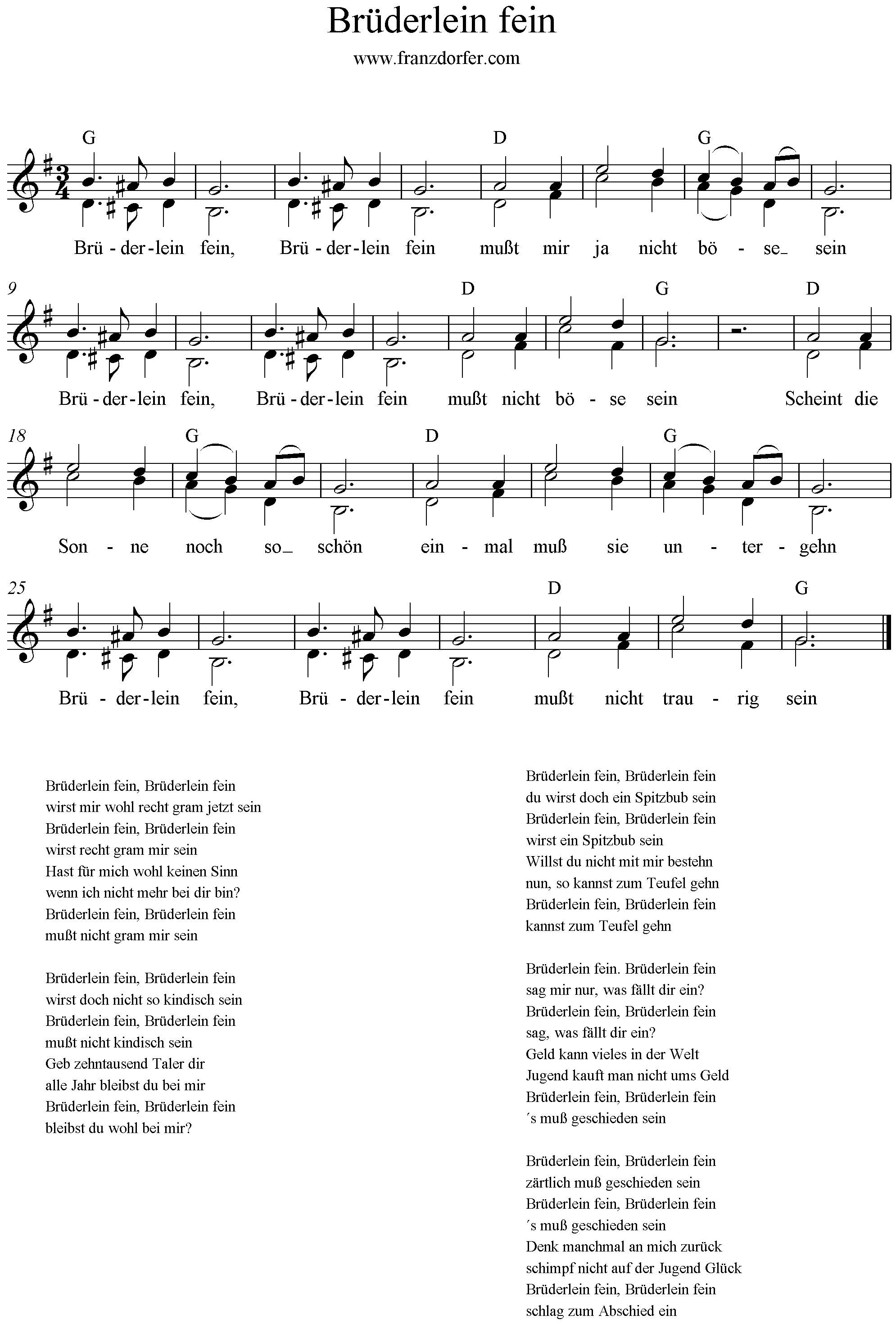 Noten für Blockflöte, Brüderlein fein , G-Dur
