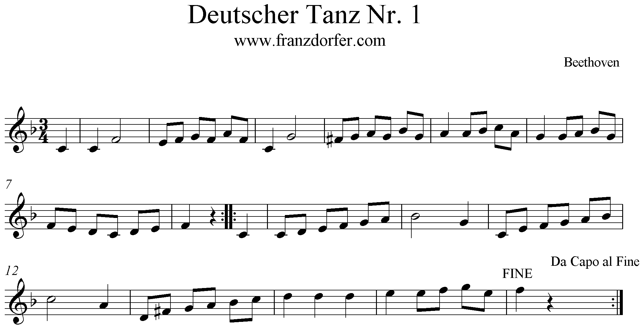 German Dance Nr.1- Deutscher Tanz Nr. 1 Beethoven