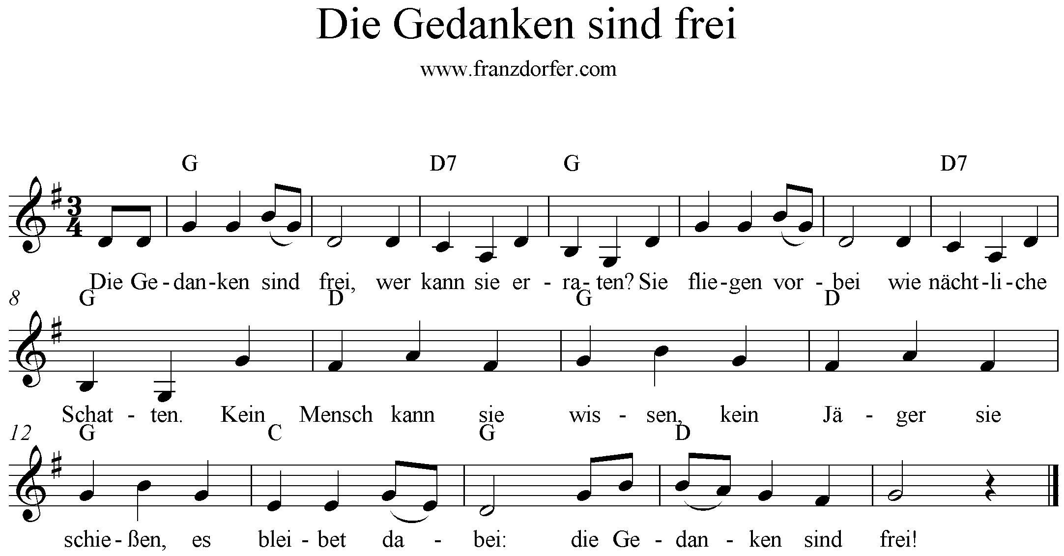 Die gedanken sind frei songtext