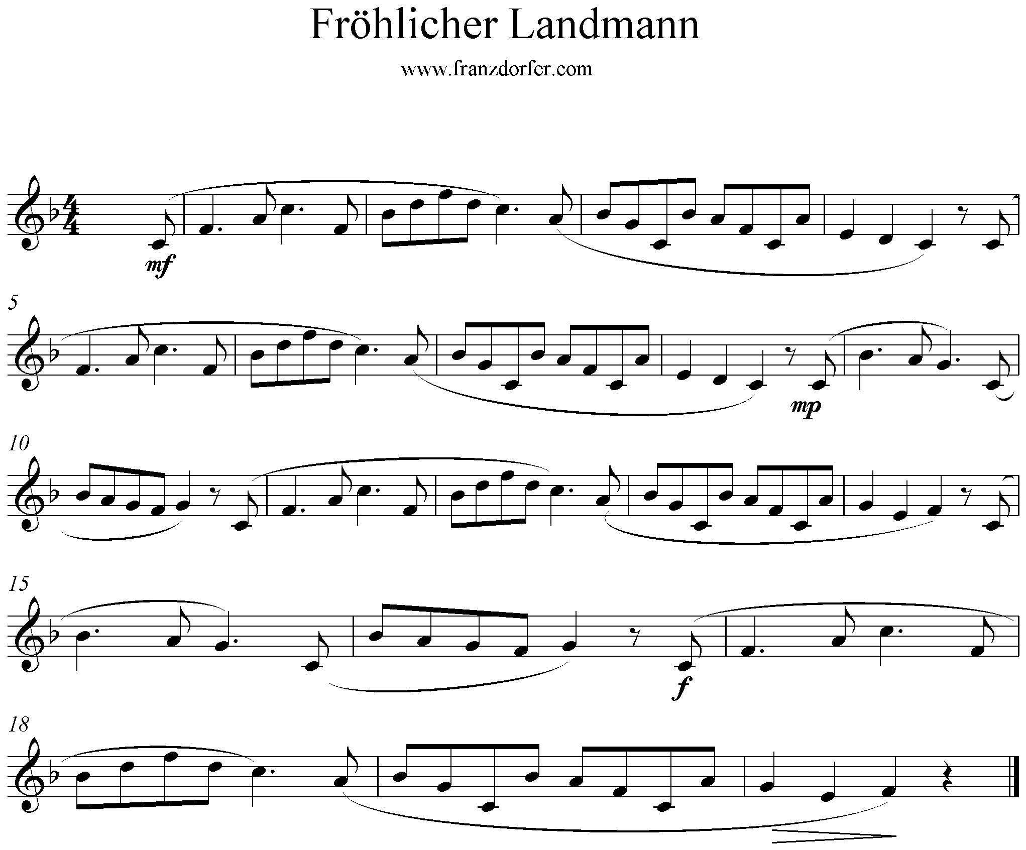 Noten der fröhliche Landmann, Blockflöte, F-Dur