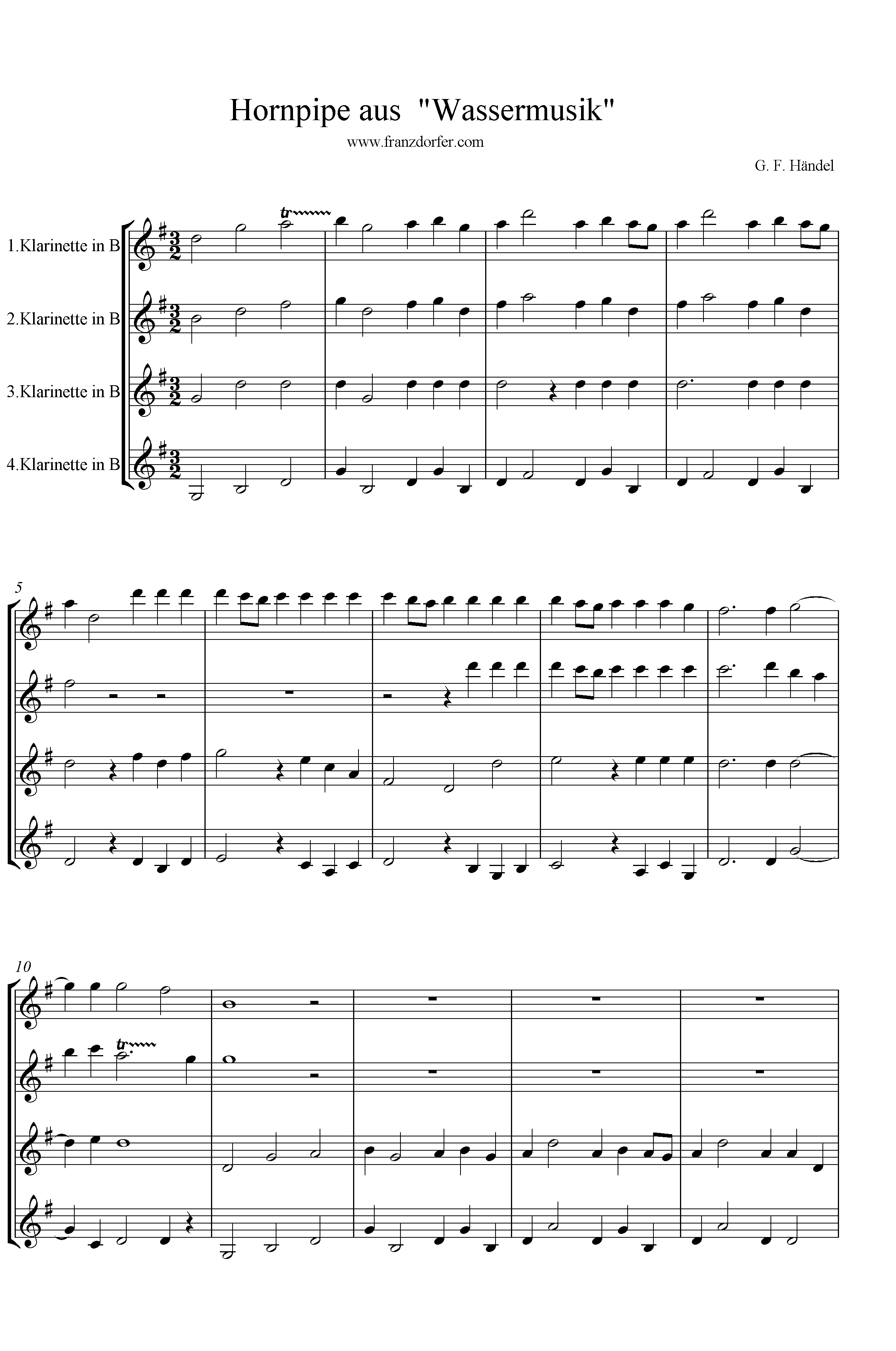 freesheet music  download hornpipe händel