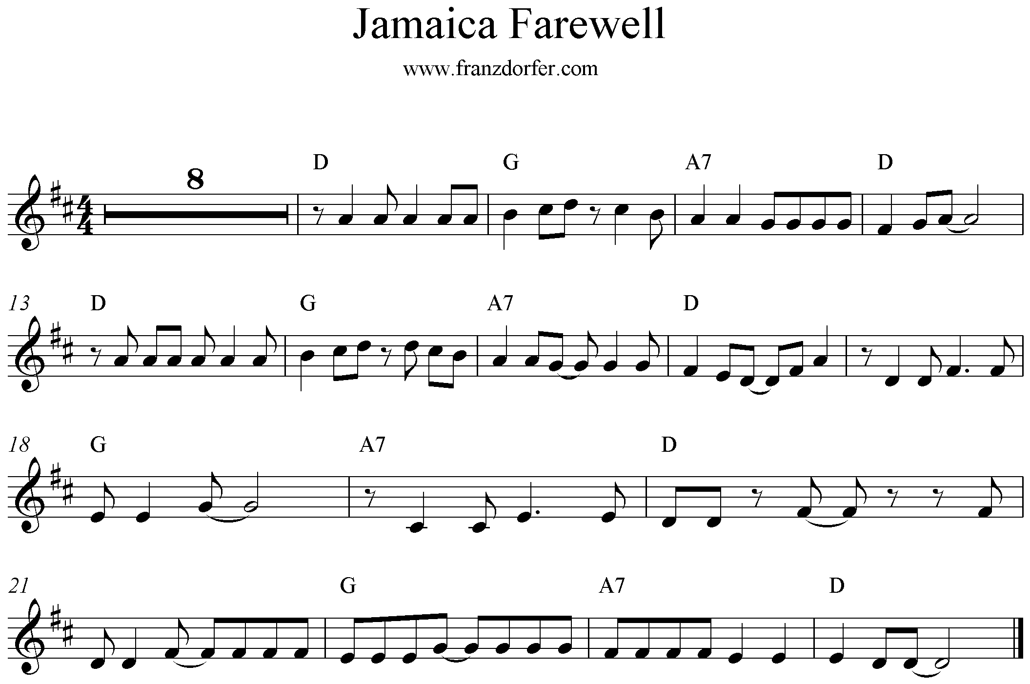 Noten Jamaica farewell