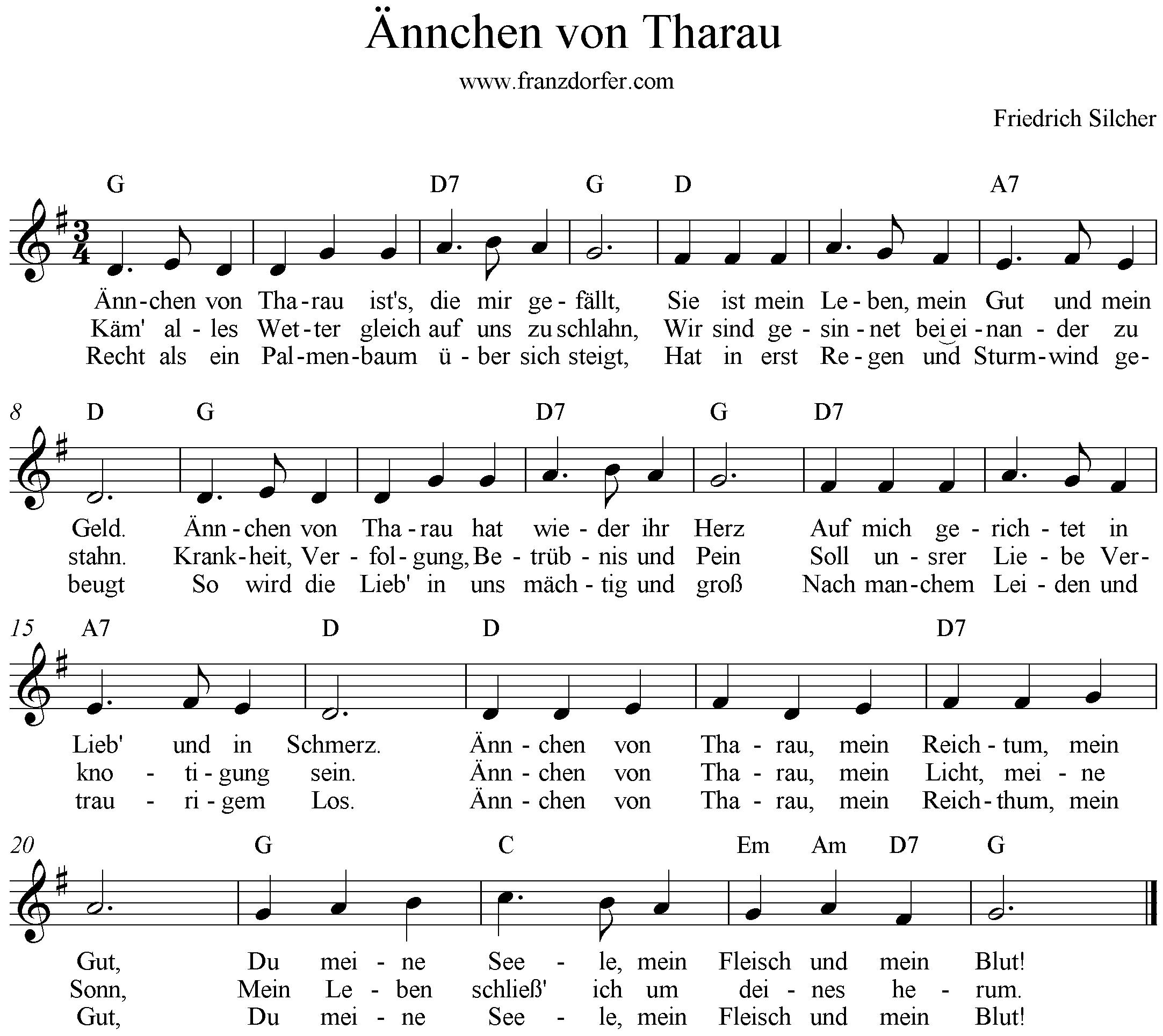 Ännchen von Tharau, G-Dur, Klarinette