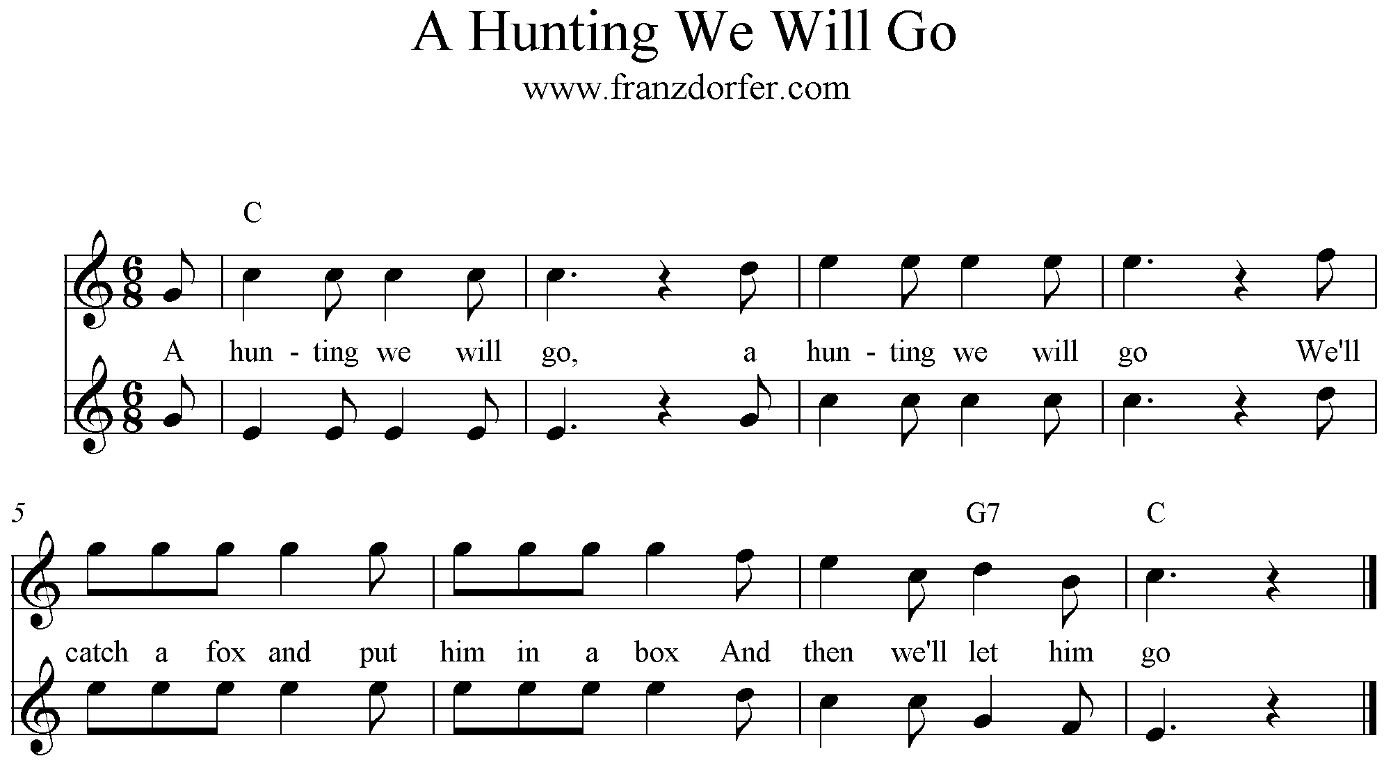 sheetmusic A Hunting we will go