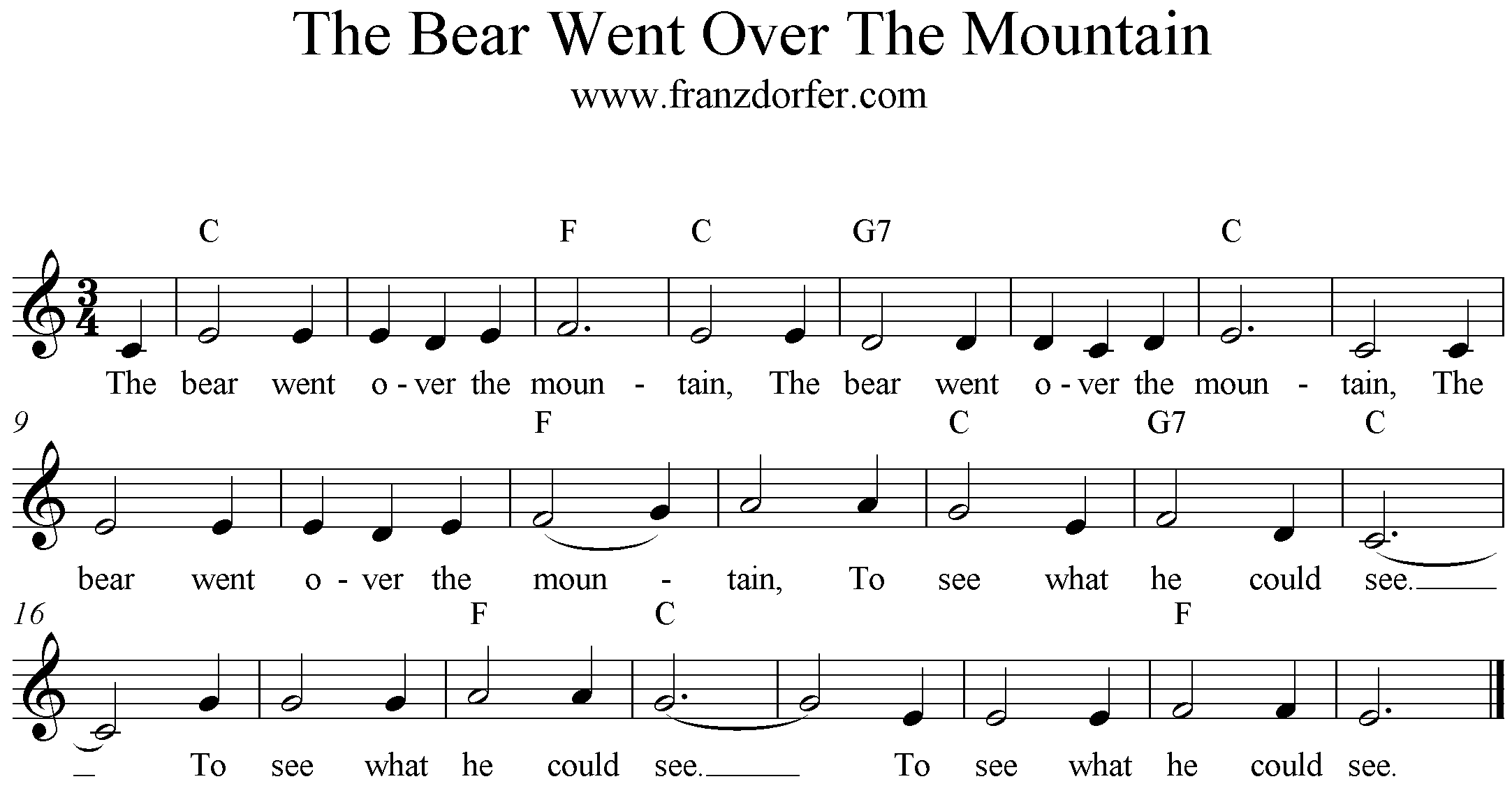 freesheet music The Bear went over the mountain