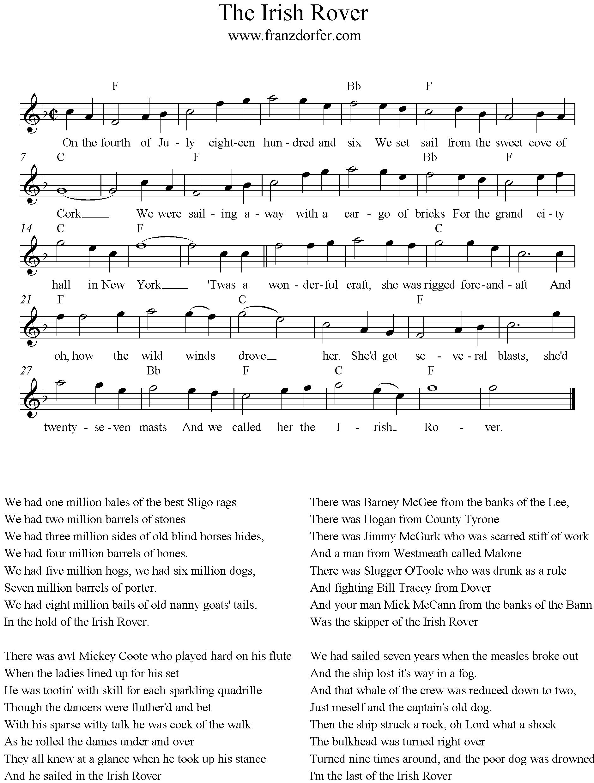 Barney Weihnachtslieder Text.The Irish Rover