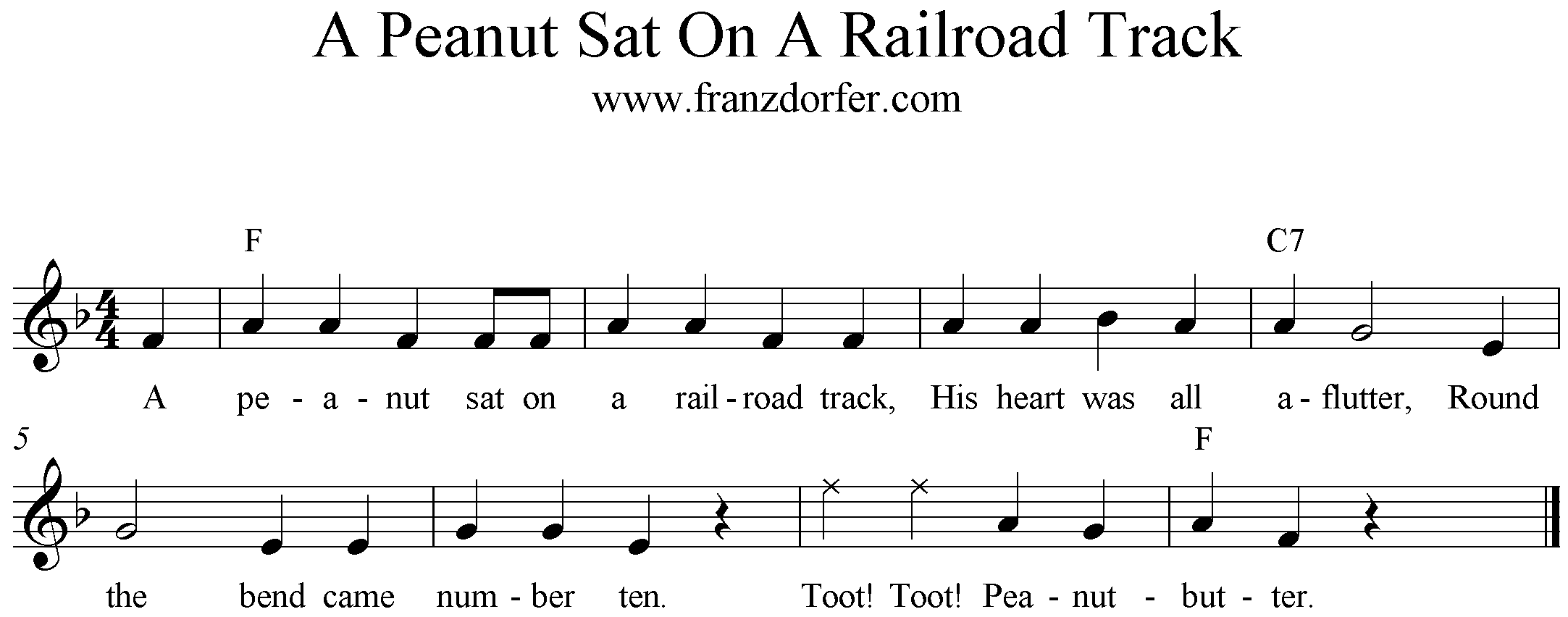 Freesheet Music A Peanut Sat On A Railroad Track